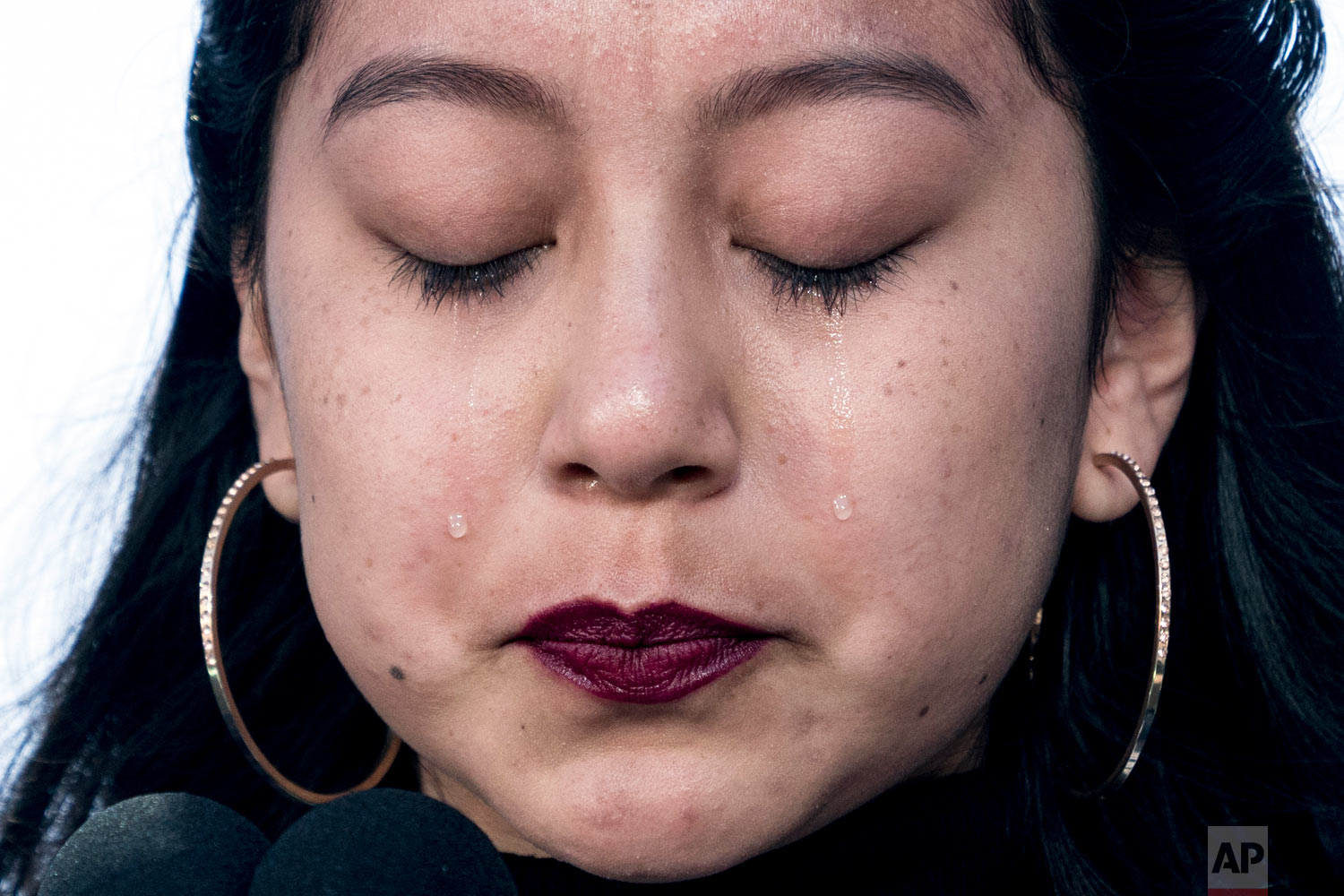 """Edna Chavez of Manual Arts High, south of downtown Los Angeles, cries as she speaks during the """"March for Our Lives"""" rally in support of gun control in Washington, Saturday, March 24, 2018. (AP Photo/Andrew Harnik)"""