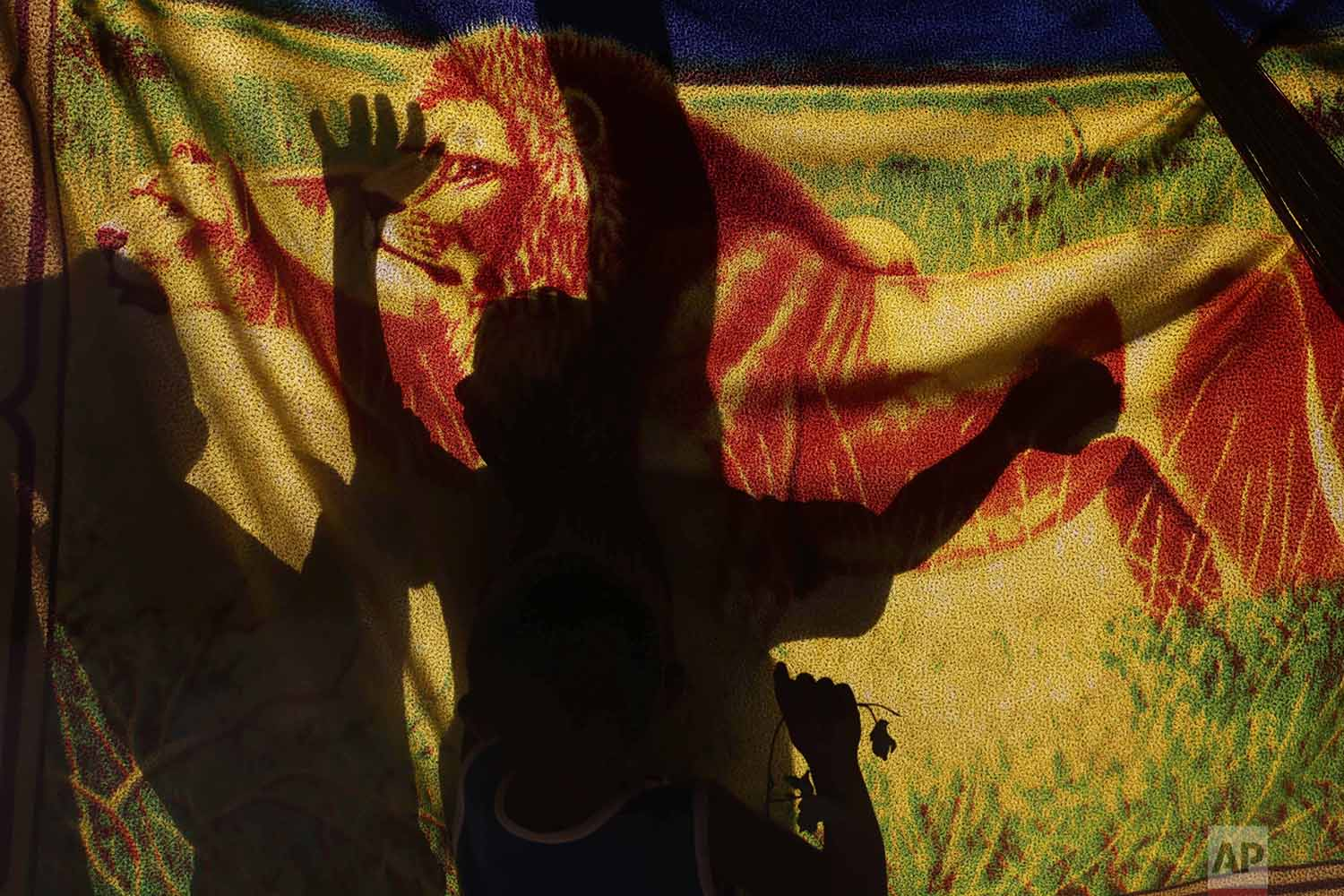 In this March 10, 2018 photo, the shadows of Warao children are cast on a blanket serving as a curtain at a shelter in Pacaraima, Brazil. (AP Photo/Eraldo Peres)