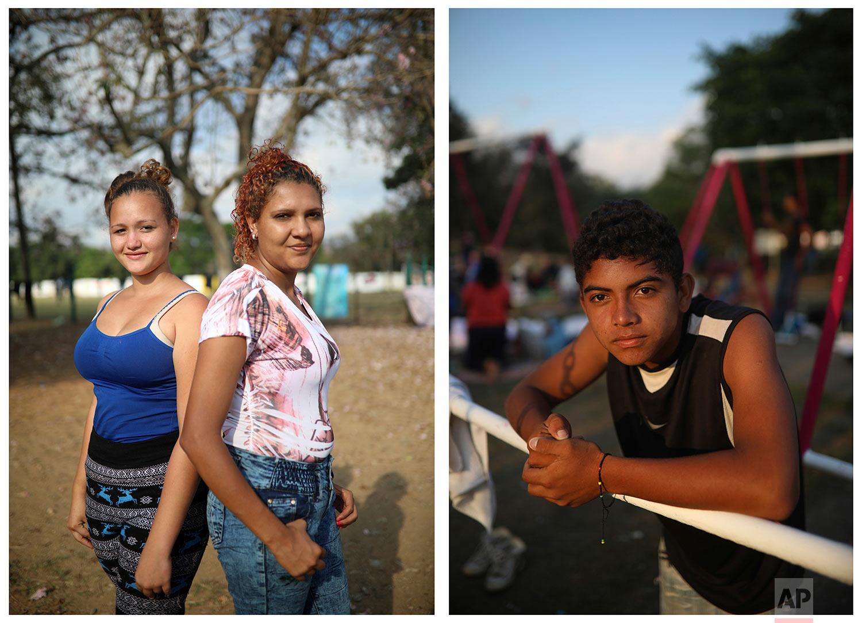 Left: Honduran migrants Patsy Guardado,15, and Yosselin Alegria, 19, and right: Honduran migrant Carlos Antonio Aguilera, 14, pose for portrait in Matias Romero, Oaxaca State, Mexico, Tuesday, April 3, 2018. (AP Photo/Felix Marquez)