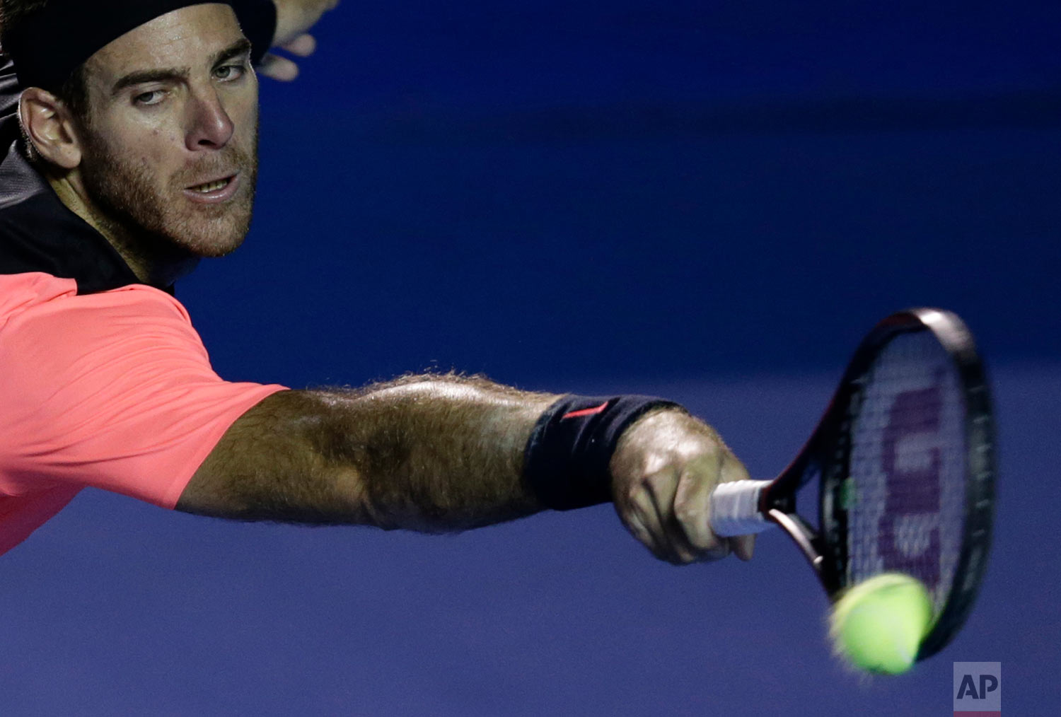 Argentina's Juan Martin del Potro returns a ball from South Africa's Kevin Anderson in the men's final at the Mexican Tennis Open in Acapulco, Mexico, March 3, 2018.(AP Photo/Rebecca Blackwell)