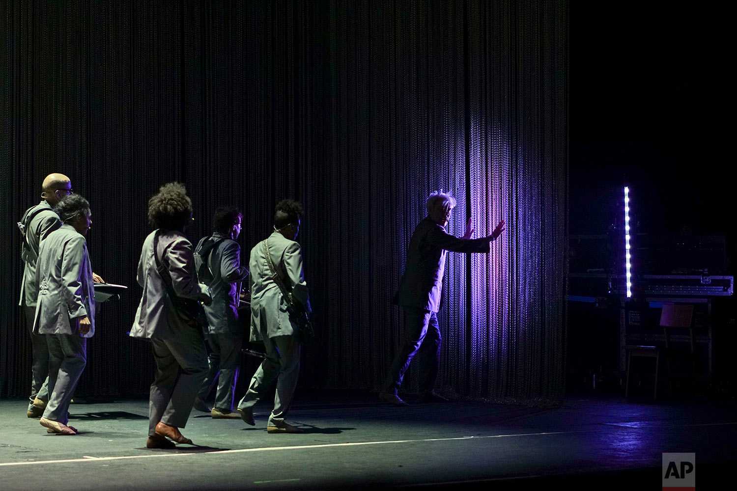 Musician David Byrne presents his latest work 'American Utopia', in Montevideo, Uruguay, March 20, 2018. Byrne's new album, released on March 9, is about the longing people have amid fears and frustrations, he said in a recent interview. (AP Photo/Matilde Campodonico)