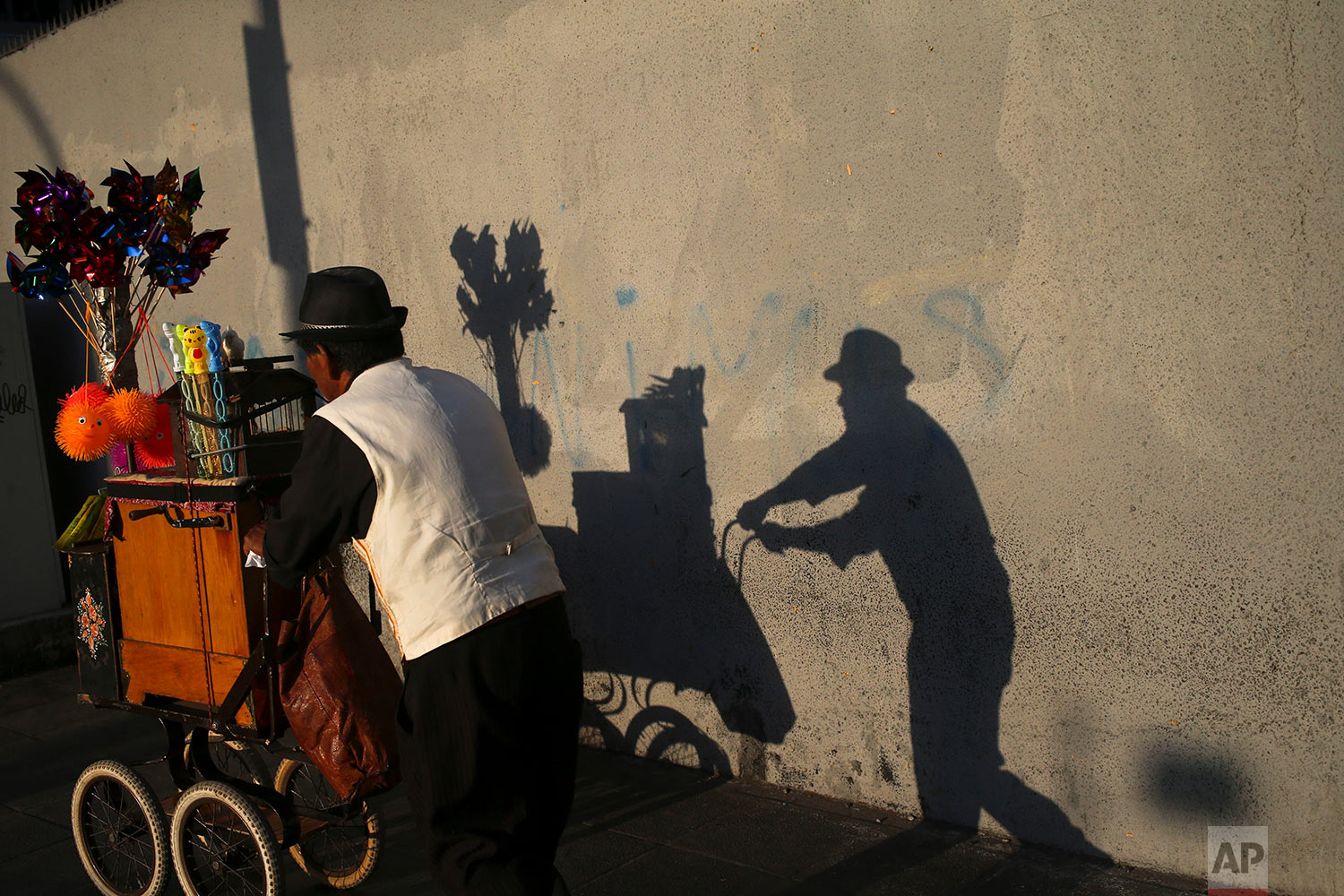 An organ grinder walks on a street in a downtown in Santiago, Chile, March 9, 2018. The organ grinder is a traditional character established in Chile since end of the XIX century, who carries a cart with a wooden musical box and a trained bird that extracts papers with messages for luck that it gives to clients. (AP Photo/Esteban Felix)