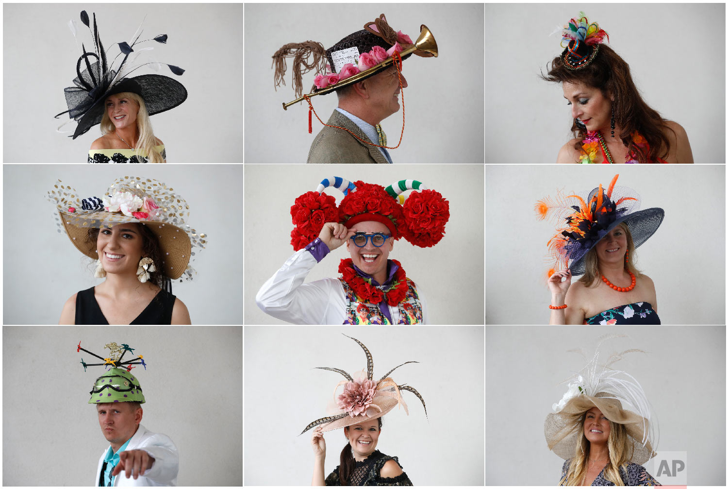Attendees pose for a photo with their hats before the 144th running of the Kentucky Derby horse race at Churchill Downs Saturday, May 5, 2018, in Louisville, Ky. (AP Photo/John Minchillo)