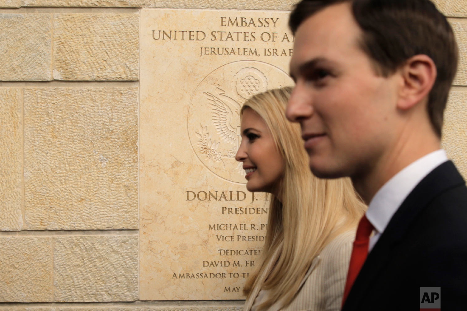U.S. President Donald Trump's daughter Ivanka, left, and White House senior adviser Jared Kushner attends the opening ceremony of the new U.S. Embassy in Jerusalem, Monday, May 14, 2018. (AP Photo/Sebastian Scheiner)