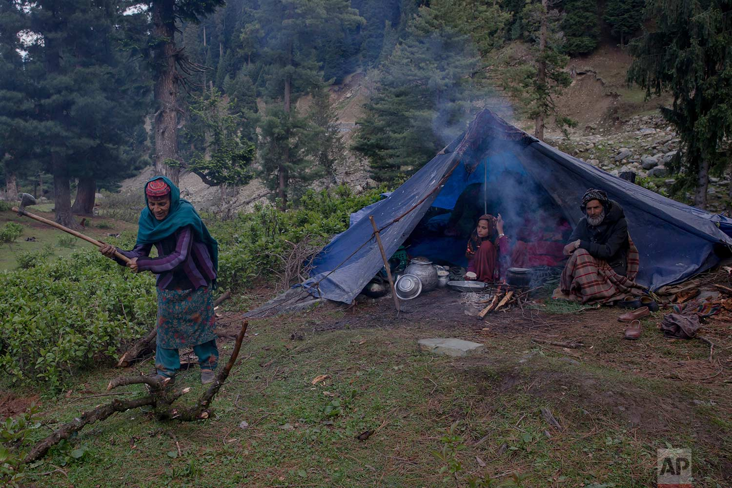 In this May 9, 2018, photo, Rashem Jan, a Kashmiri nomadic Bakarwal woman cuts a tree trunk for cooking food outside her tent at a temporary camp in Dubgan, 70 kilometers (43 miles) south of Srinagar, Indian controlled Kashmir. (AP Photo/Dar Yasin)