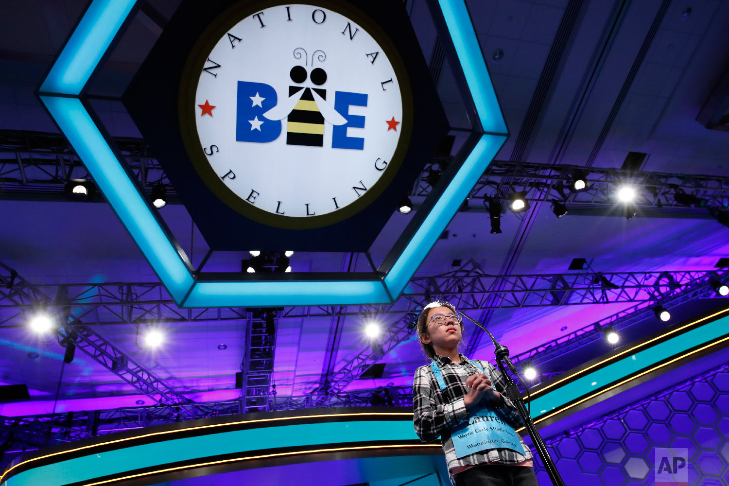 Lauren Guo, 12, from Arvada, Colo., competes in the Scripps National Spelling Bee in Oxon Hill, Md., Thursday, May 31, 2018. (AP Photo/Jacquelyn Martin)