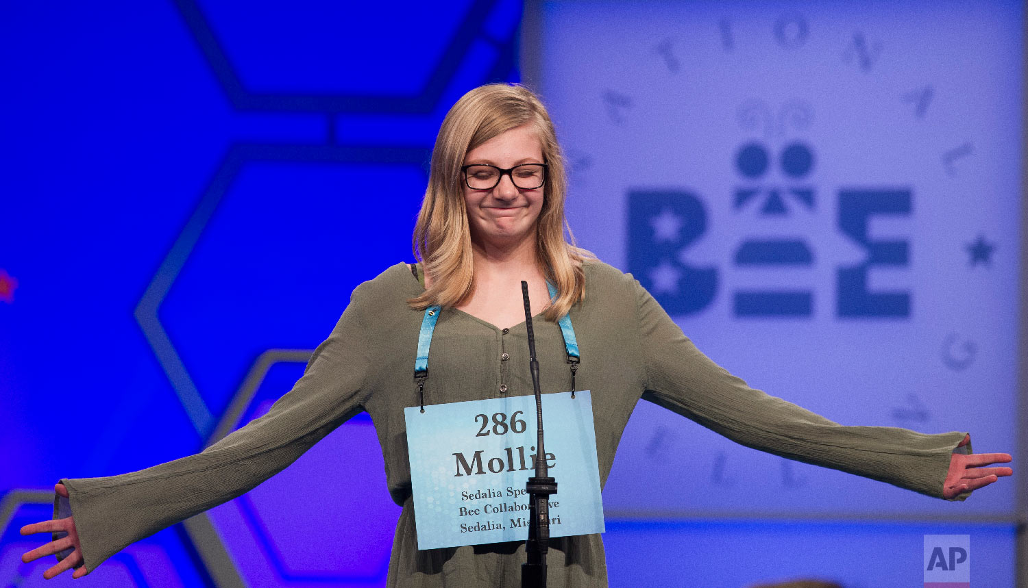 Mollie Miner, 11, from Sedalia, Mo., misspells her word during the second round of the Scripps National Spelling Bee in Oxon Hill, Md., Tuesday, May 29, 2018. (AP Photo/Cliff Owen)