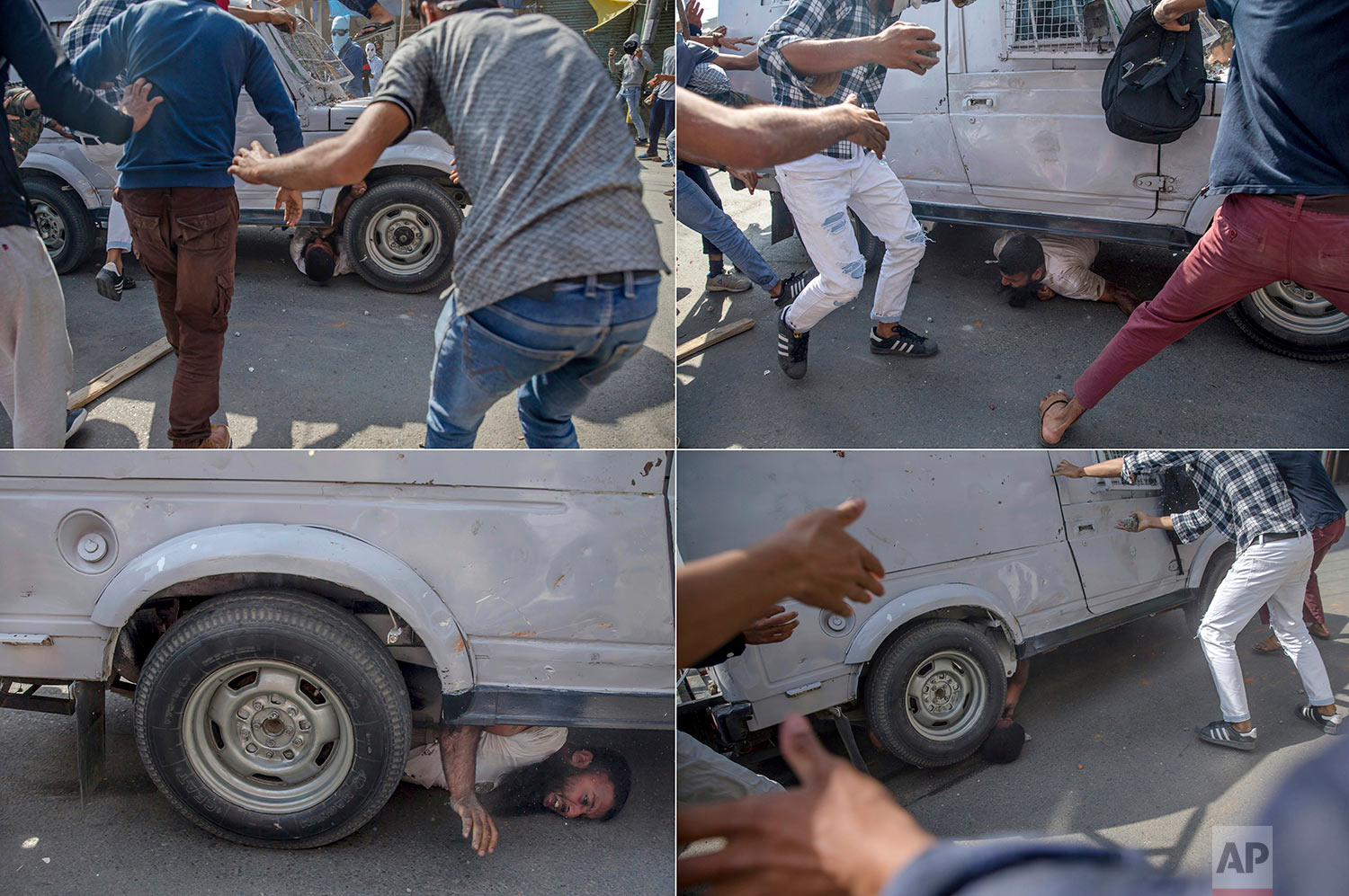 In this four photo combination picture, a Kashmiri man is seen run over by a paramilitary vehicle during a protest in Srinagar, Indian controlled Kashmir, Friday, June 1, 2018.  (AP Photo/Dar Yasin)