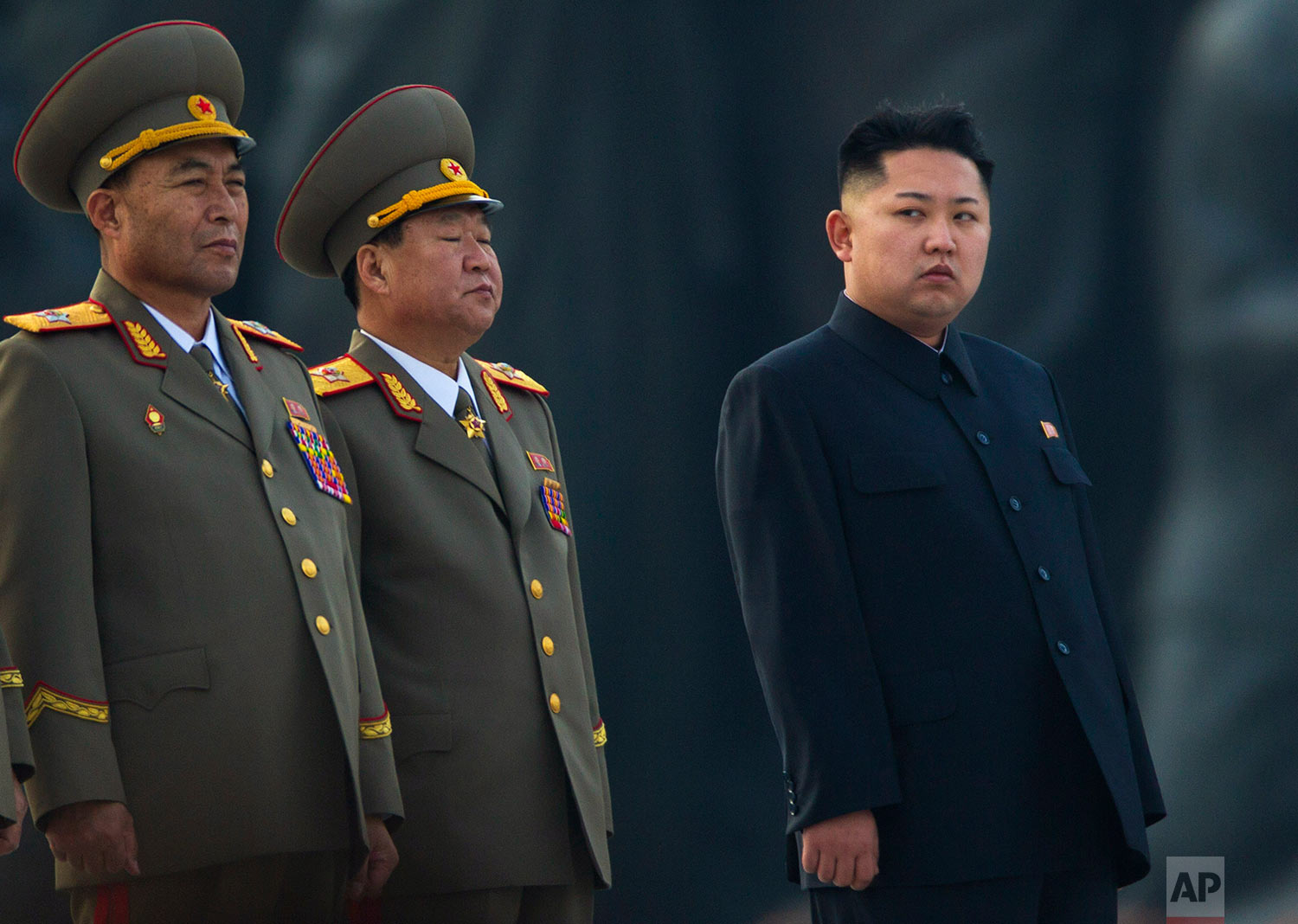 North Korean leader Kim Jong Un stands next to senior military leaders during a ceremony in honor of his father, Kim Jong Il, and grandfather, Kim Il Sung, in Pyongyang on April 13, 2012. (AP Photo/David Guttenfelder)