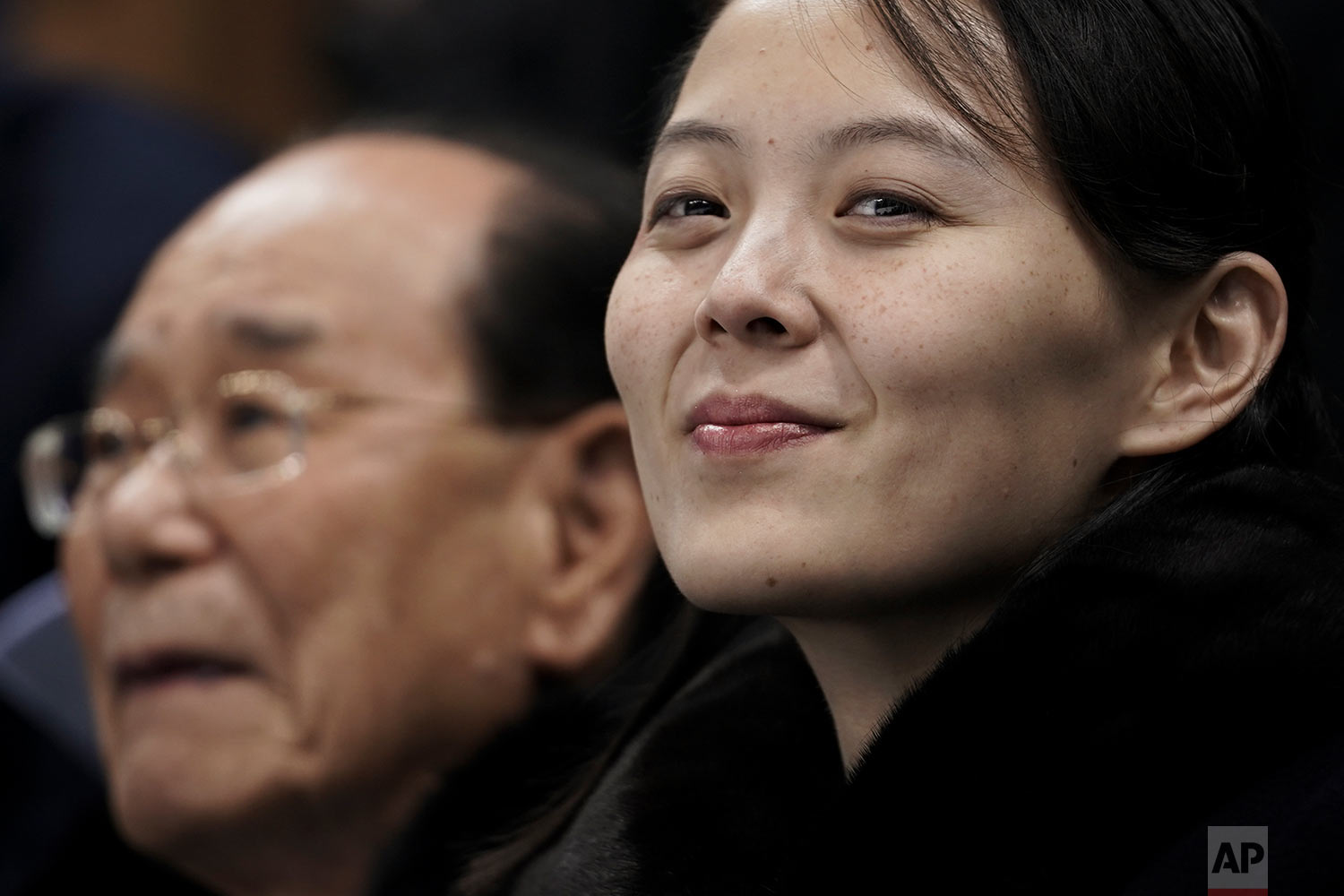Kim Yo Jong, the sister of North Korean leader Kim Jong Un, waits with North Korea's nominal head of state, Kim Yong Nam, for the start of a women's hockey game between Switzerland and the combined Koreas at the 2018 Winter Olympics in Gangneung, South Korea, on Feb. 10, 2018. Kim first emerged on the world stage at the Winter Games as emissary for good will from the North. (AP Photo/Felipe Dana)