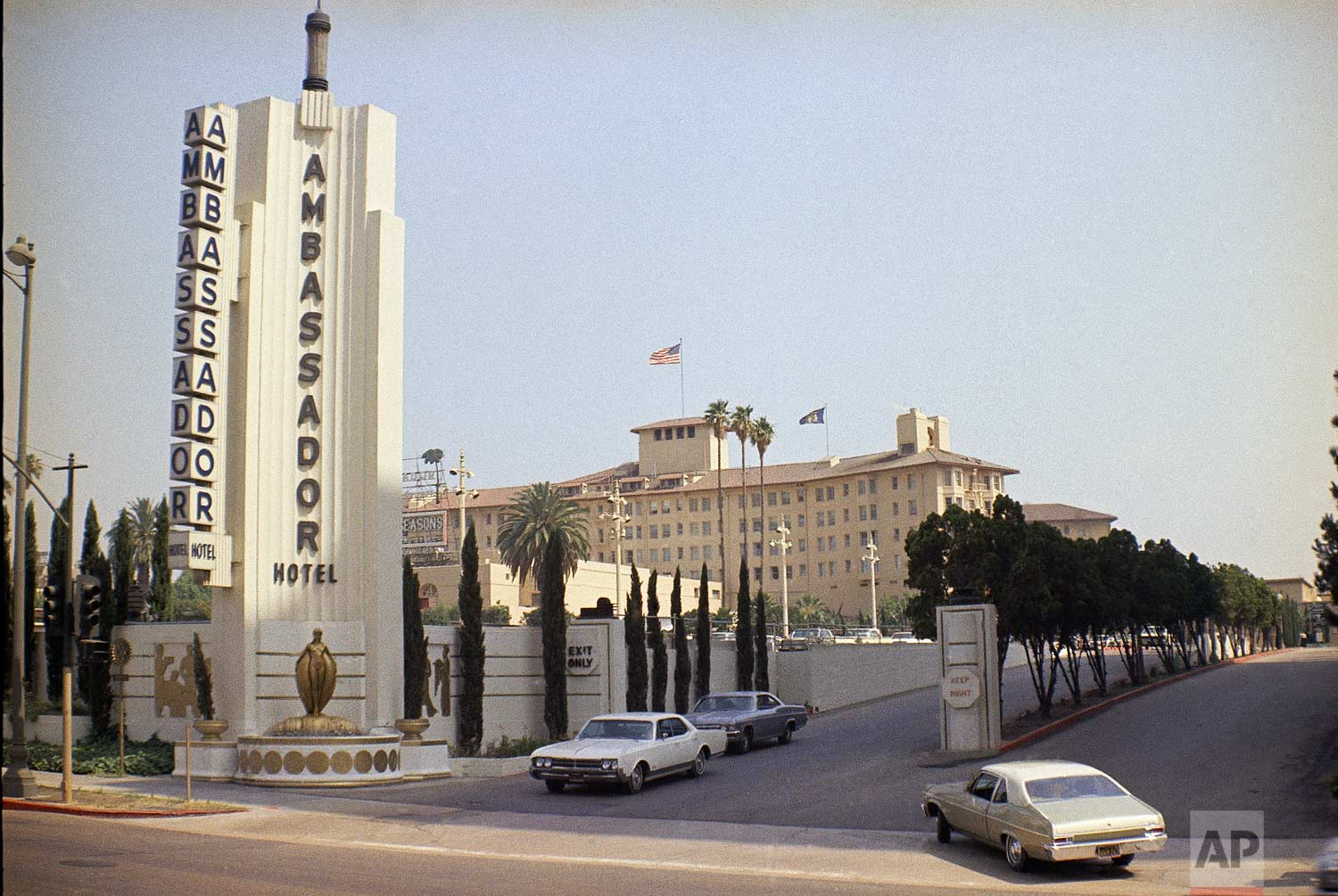 Entrance to the Ambassador hotel in Los Angeles, Calif. on June 28, 1968. It was at the Ambassador Hotel that U.S. Senator Robert F. Kennedy was shot on June 5, 1968 after making a campaign speech. (AP Photo/David F. Smith)