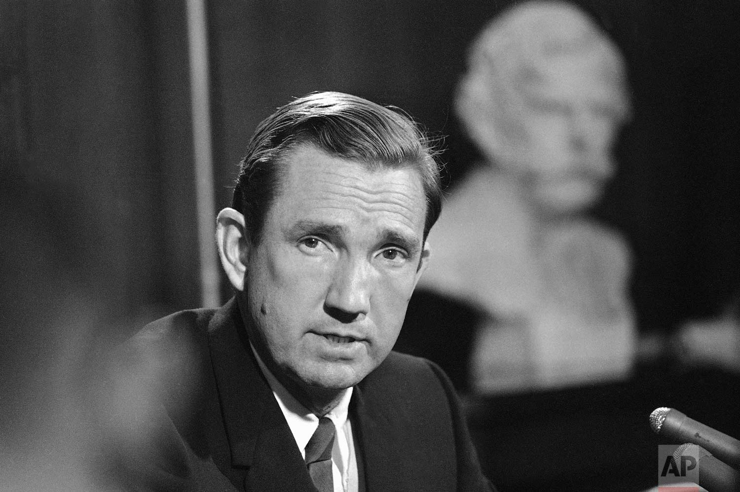 Attorney General Ramsey Clark tells a news conference in Washington on June 5, 1968 that the FBI is investigating every possible angle in the shooting of Senator Robert F. Kennedy including the possibility of conspiracy. (AP Photo)