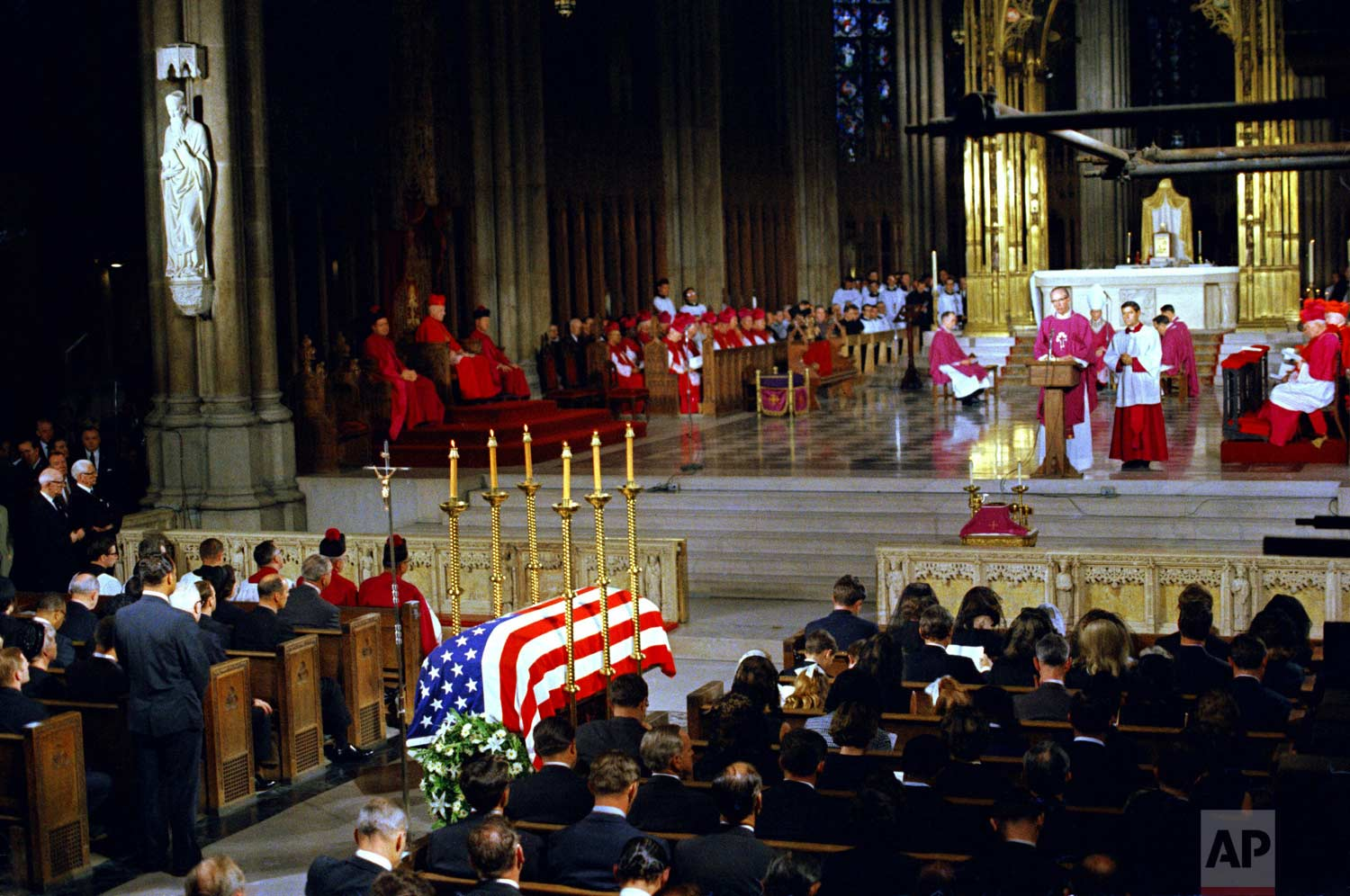 The funeral of Sen. Robert F. Kennedy is held at St. Patrick's Cathedral in New York, June 8, 1968. President Lyndon B. Johnson is seen in second row pew at left. (AP Photo)
