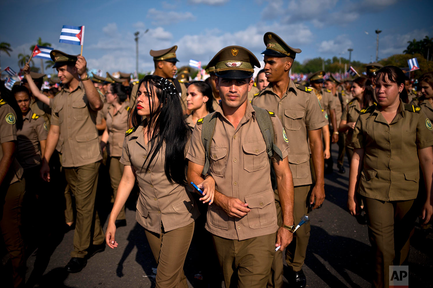 Cuban soldiers take part in the annual May Day parade at Revolution Square in Havana, Cuba, Tuesday, May 1, 2018.  (AP Photo/Ramon Espinosa)