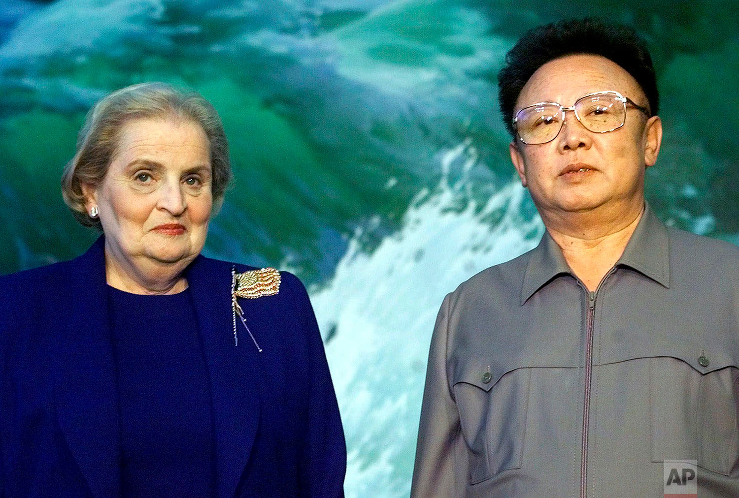 U.S. Secretary of State Madeleine Albright and North Korean Leader Kim Jong Il stand side-by-side at the Pae Kha Hawon Guest House in Pyongyang, North Korea, on Oct. 23, 2000. (AP Photo/David Guttenfelder, Pool)
