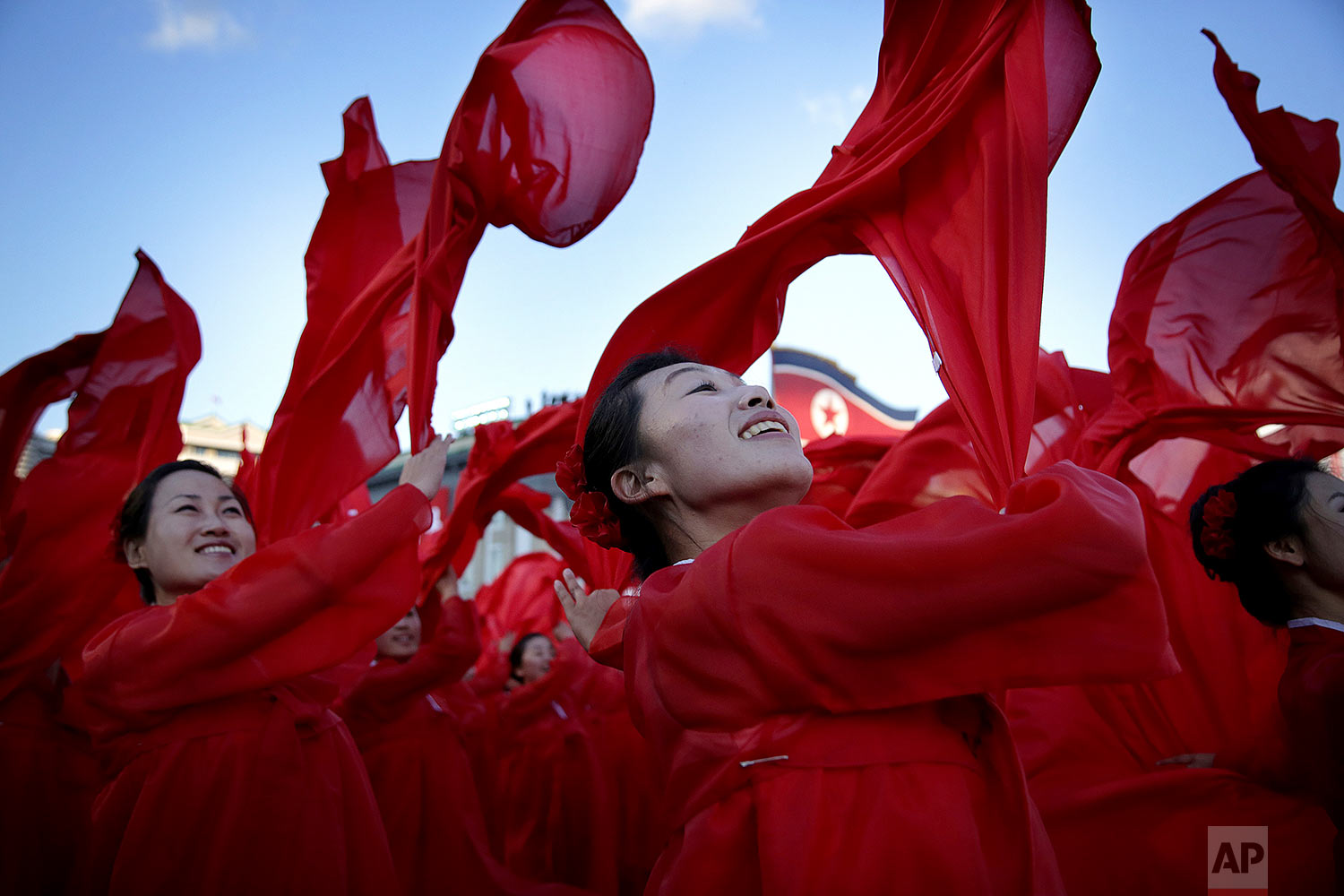 Dancers perform during a military parade in Kim Il Sung Square in Pyongyang, North Korea, on Oct. 10, 2015. (AP Photo/Wong Maye-E)