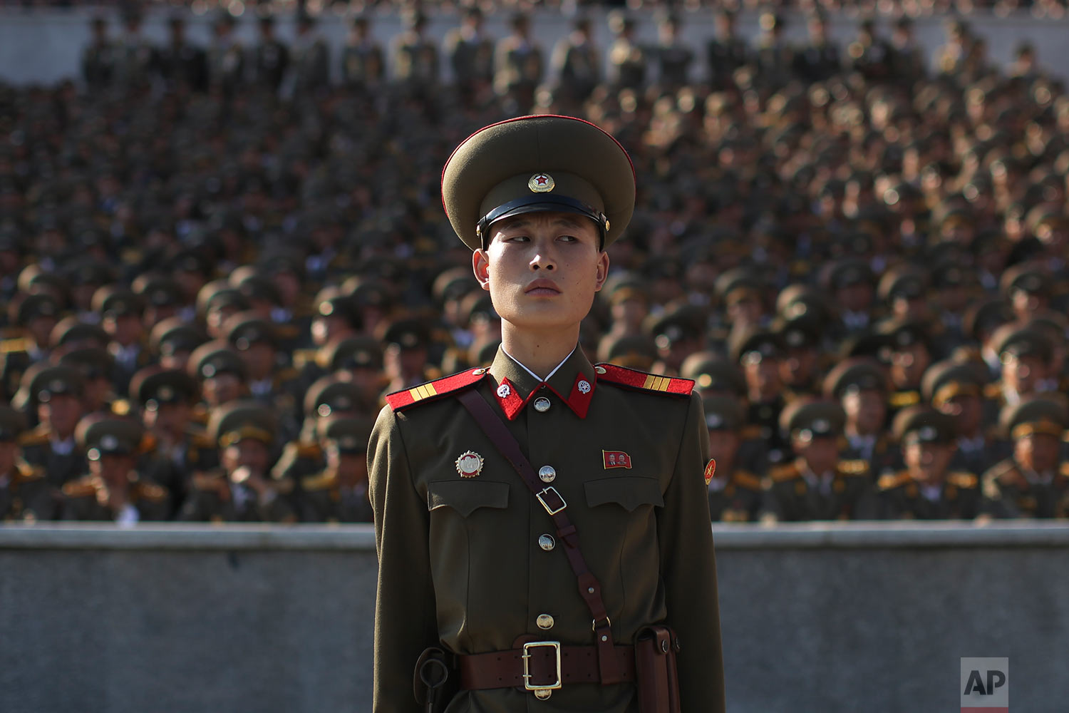 A soldier stands during a parade in Pyongyang, North Korea, to mark the 70th anniversary of the founding of North Korea's ruling party on Oct. 10, 2015. (AP Photo/Wong Maye-E)