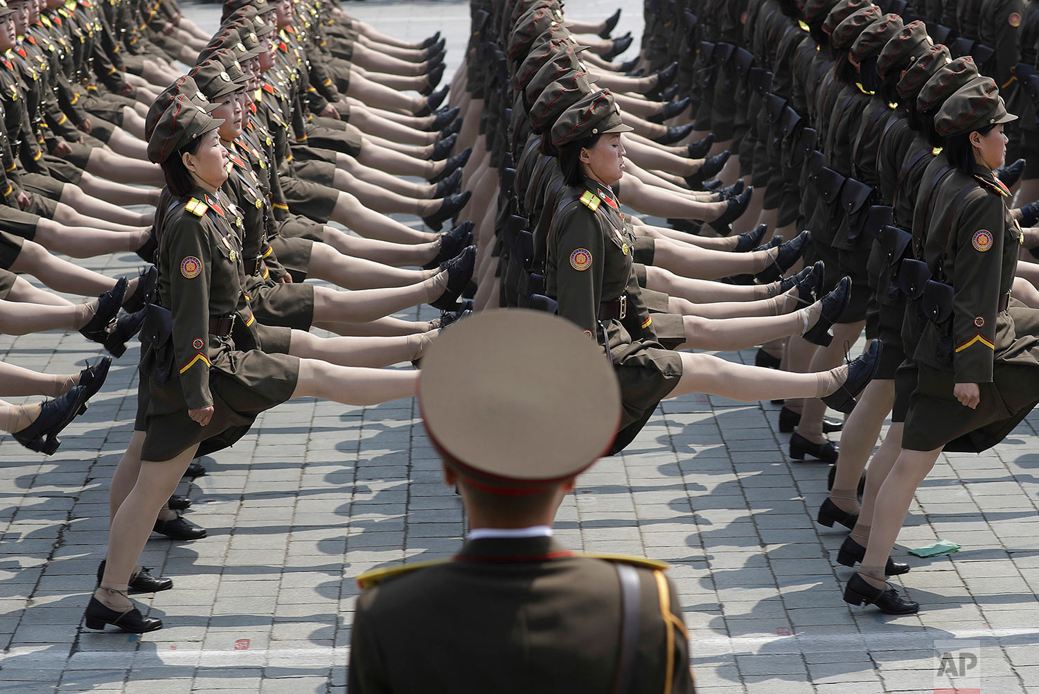 Soldiers take part in a military parade on April 15, 2017, in Pyongyang, North Korea, to celebrate the 105th anniversary of the birth of Kim Il Sung, the country's late founder and grandfather of current ruler Kim Jong Un. (AP Photo/Wong Maye-E)