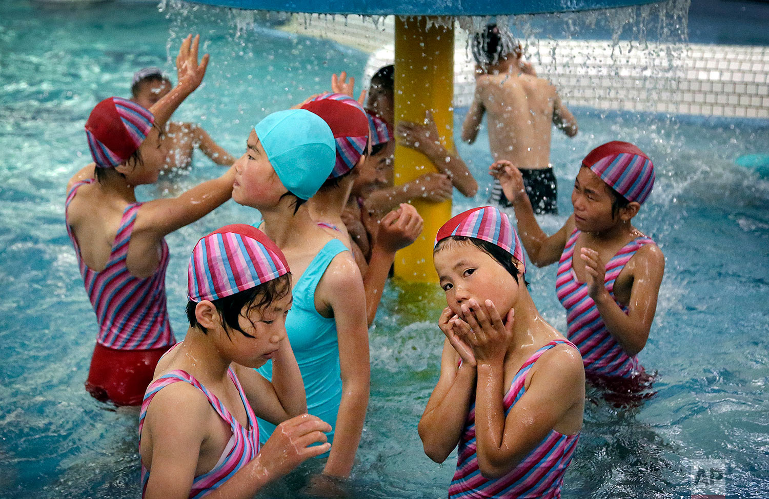 North Korean school children play in the aquatic center at the Songdowon International Children's Camp in Wonsan, North Korea, on June 23, 2016. The camp, which has been operating for about 30 years, was intended mainly to deepen relations with friendly countries in the Communist or non-aligned world. (AP Photo/Wong Maye-E)