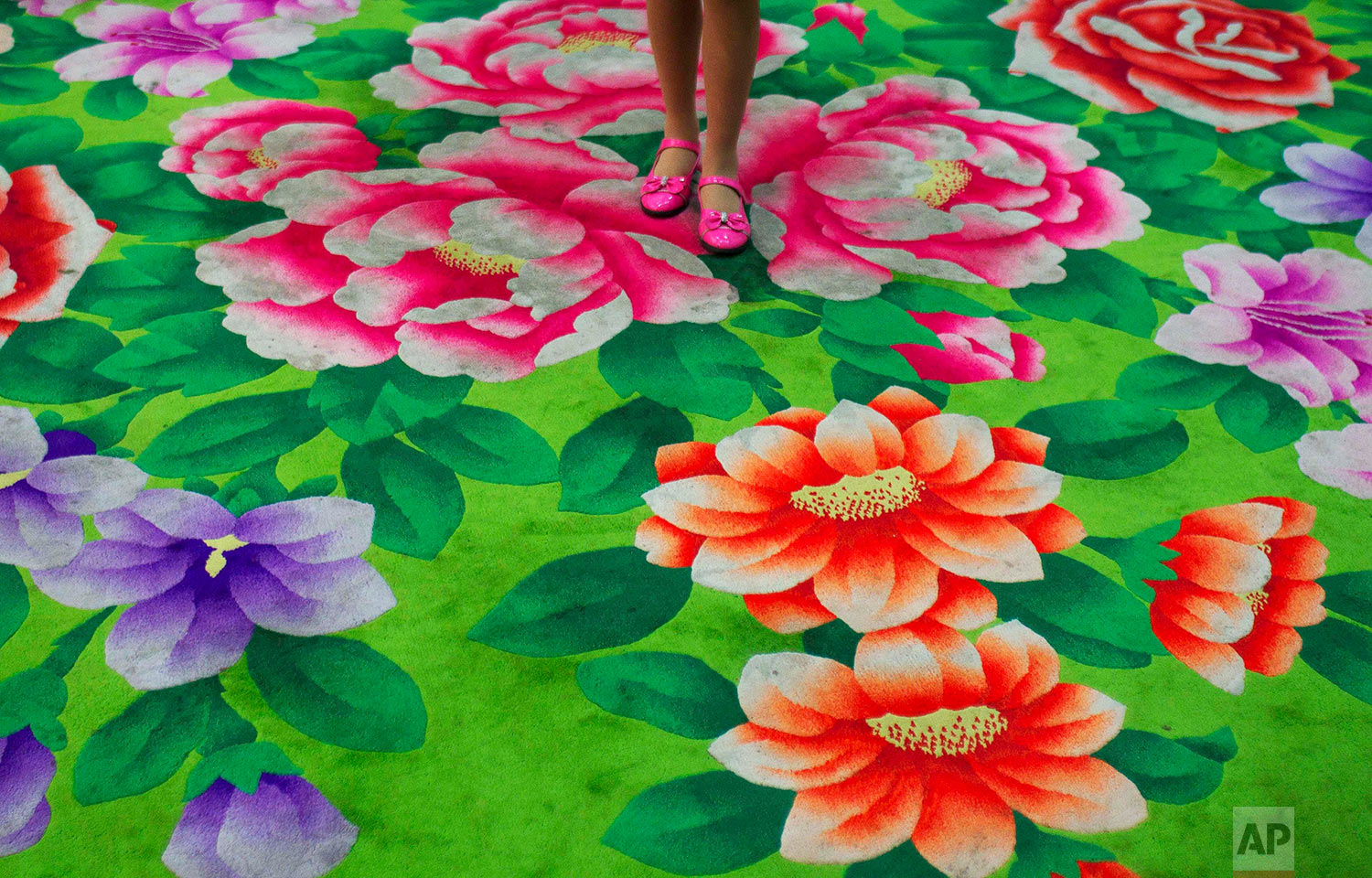 A young girl stands on floral-print carpet inside the Pyongyang Children's Palace in Pyongyang, North Korea, on April 14, 2011. The large facility teaches performance arts, fine arts, and sports as extracurricular classes to students in Pyongyang. (AP Photo/David Guttenfelder)