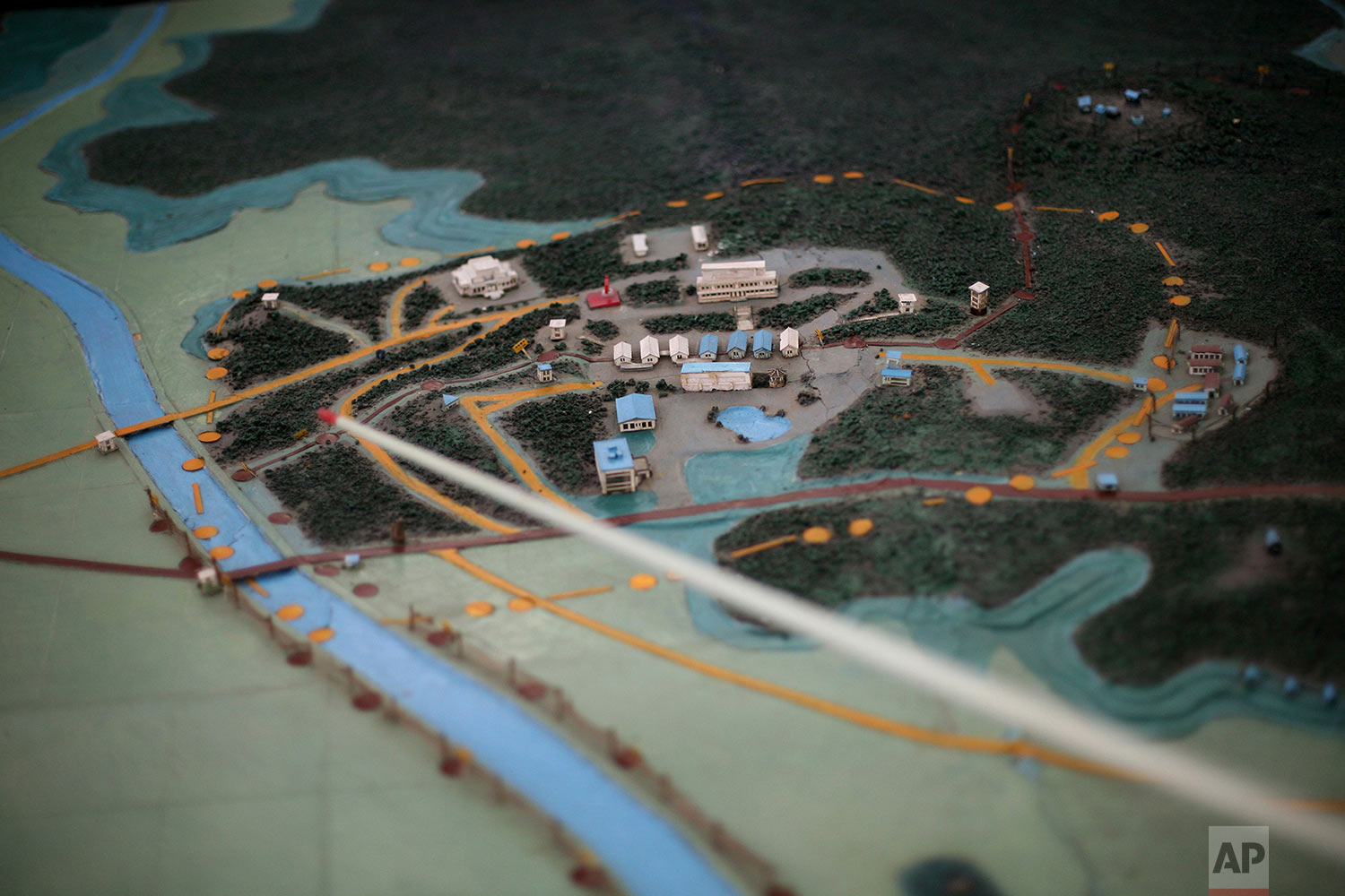 A model of the Demilitarized Zone that separates the two halves of the Korean peninsula is displayed near Kaesong, North Korea, on Sept. 18, 2008. (AP Photo/David Guttenfelder)
