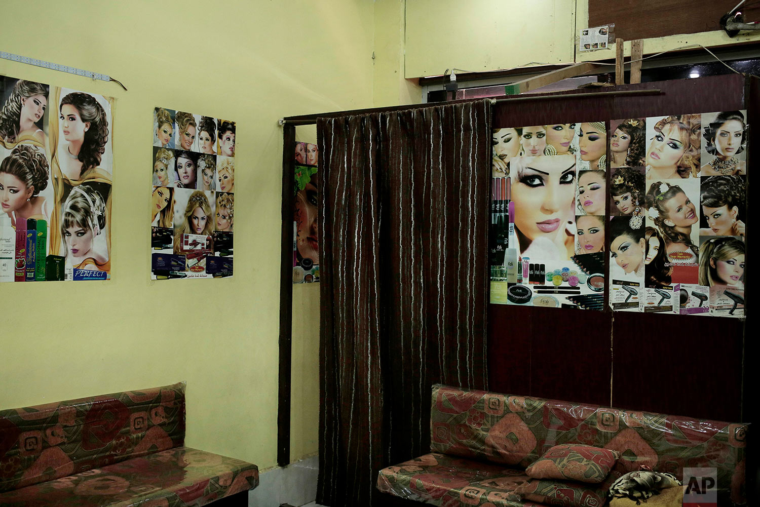 The interior of a women's hair salon in Aden, Yemen. (AP Photo/Nariman El-Mofty)