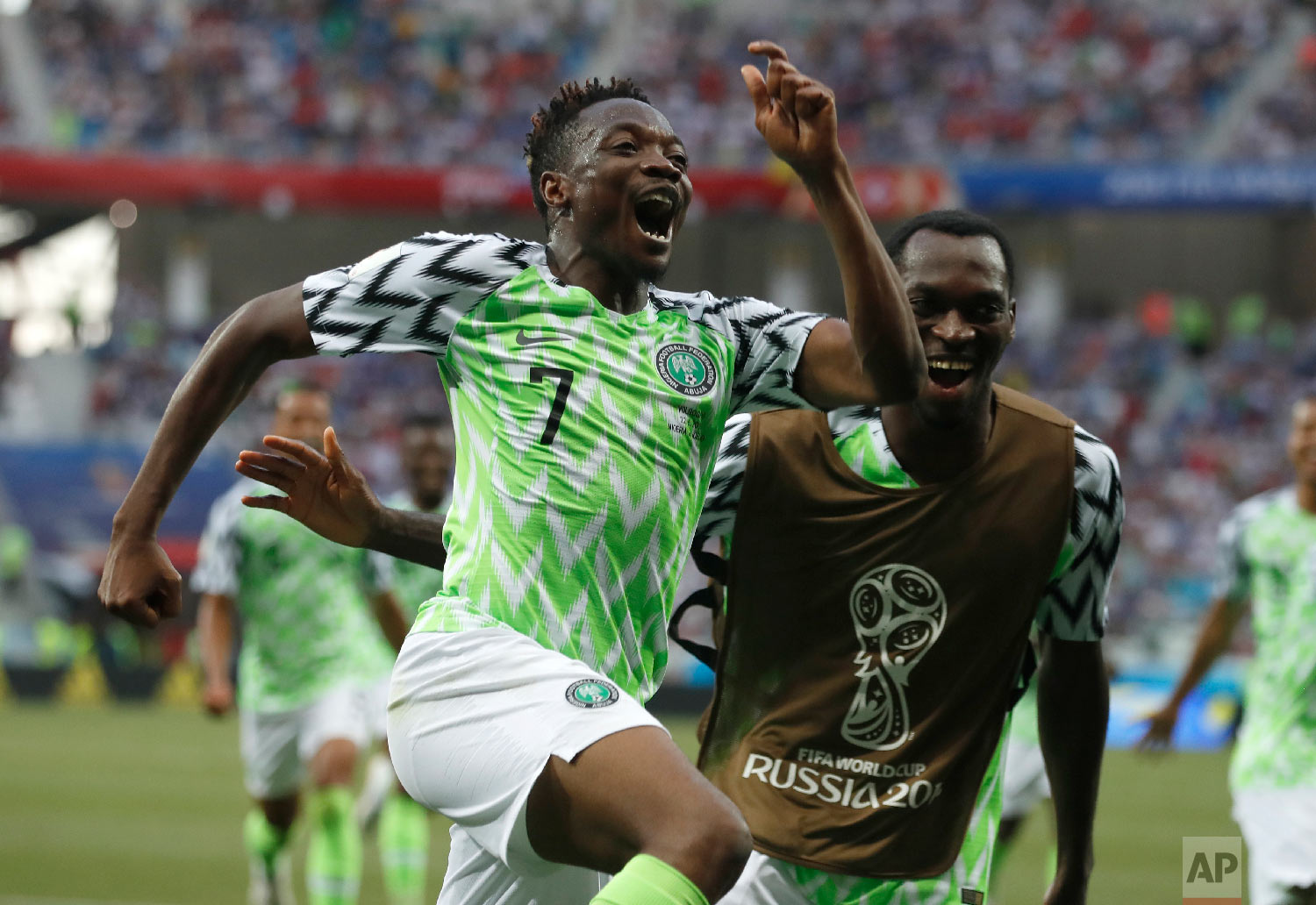 Nigeria's Ahmed Musa celebrates his team's second goal during the group D match between Nigeria and Iceland at the 2018 soccer World Cup in the Volgograd Arena in Volgograd, Russia, Friday, June 22, 2018. (AP Photo/Darko Vojinovic)