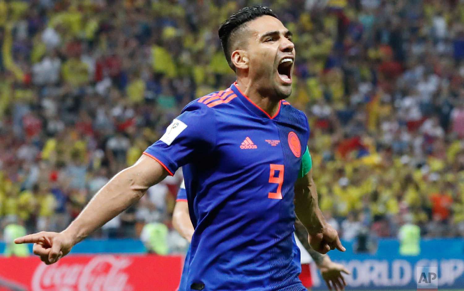 Colombia's Radamel Falcao celebrates after scoring the second side goal during the group H match between Poland and Colombia at the 2018 soccer World Cup at the Kazan Arena in Kazan, Russia, Sunday, June 24, 2018. (AP Photo/Frank Augstein)