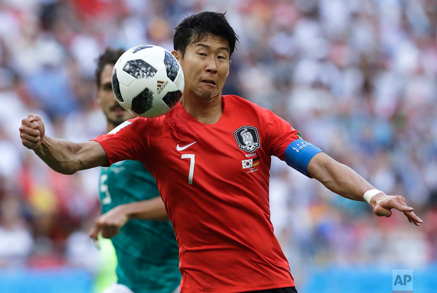 South Korea's Son Heung-min controls a ball during the group F match between South Korea and Germany, at the 2018 soccer World Cup in the Kazan Arena in Kazan, Russia, Wednesday, June 27, 2018. (AP Photo/Michael Probst)