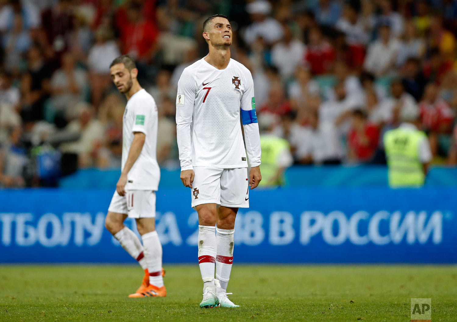 Portugal's Cristiano Ronaldo reacts disappointed during the round of 16 match between Uruguay and Portugal at the 2018 soccer World Cup at the Fisht Stadium in Sochi, Russia, Saturday, June 30, 2018. (AP Photo/Francisco Seco)