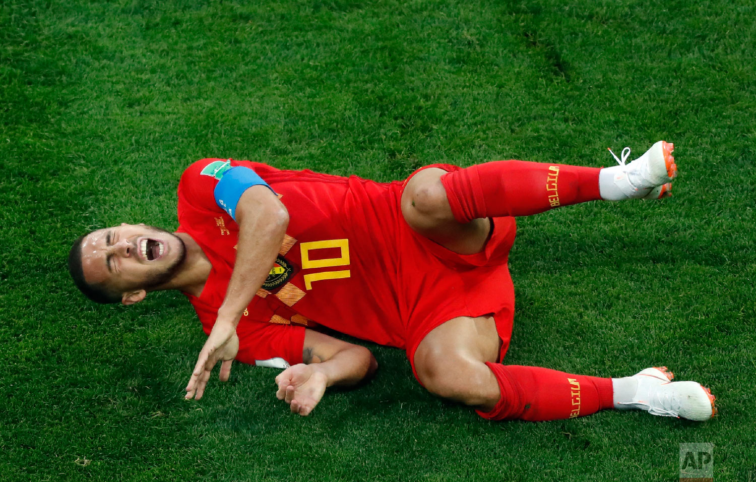 Belgium's Eden Hazard reacts during the semifinal match between France and Belgium at the 2018 soccer World Cup in the St. Petersburg Stadium in St. Petersburg, Russia, Tuesday, July 10, 2018. (AP Photo/Pavel Golovkin)