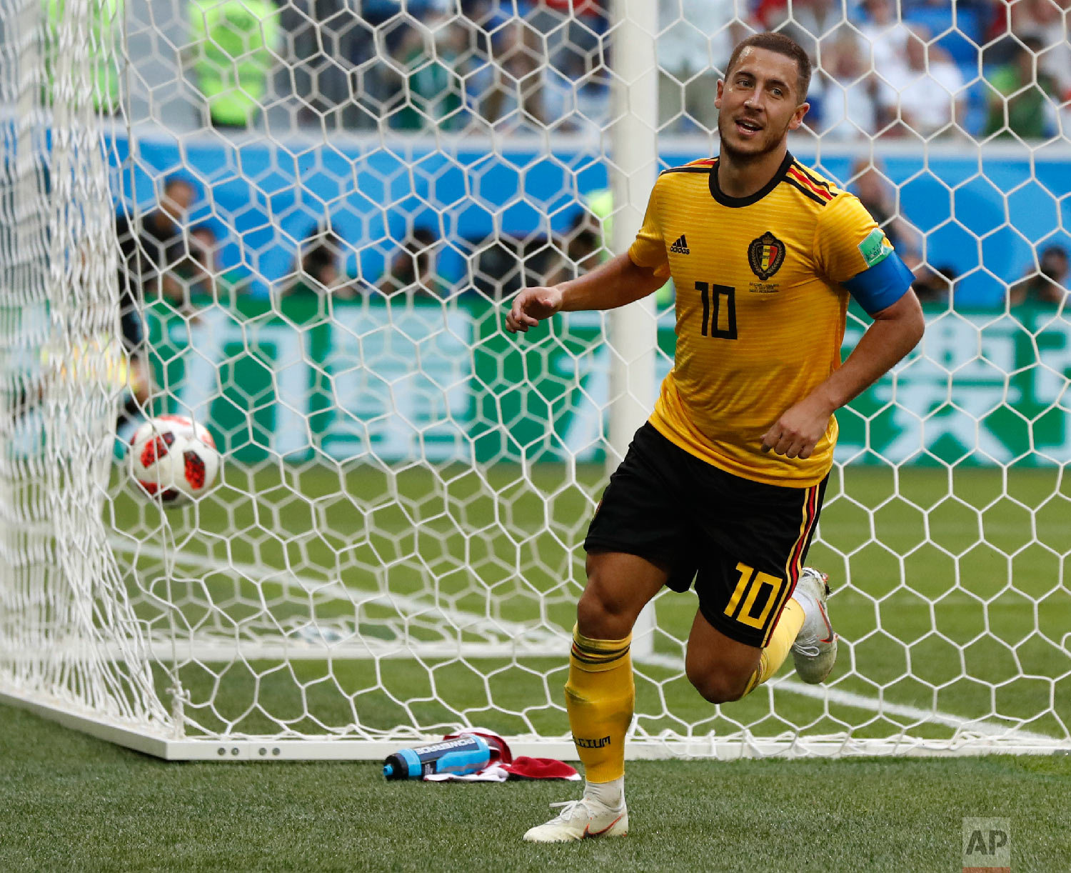Belgium's Eden Hazard runs in celebration after scoring his side's second goal during the third place match between England and Belgium at the 2018 soccer World Cup in the St. Petersburg Stadium in St. Petersburg, Russia, Saturday, July 14, 2018. (AP Photo/Petr David Josek)
