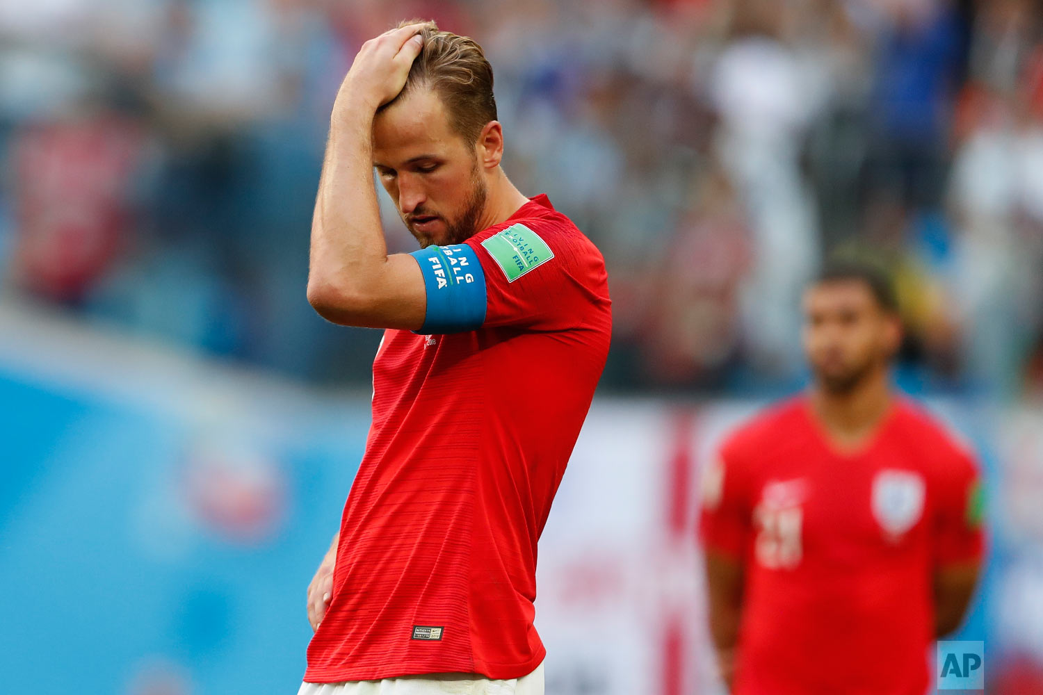 England's Harry Kane reacts after the third place match between England and Belgium at the 2018 soccer World Cup in the St. Petersburg Stadium in St. Petersburg, Russia, Saturday, July 14, 2018. (AP Photo/Natacha Pisarenko)