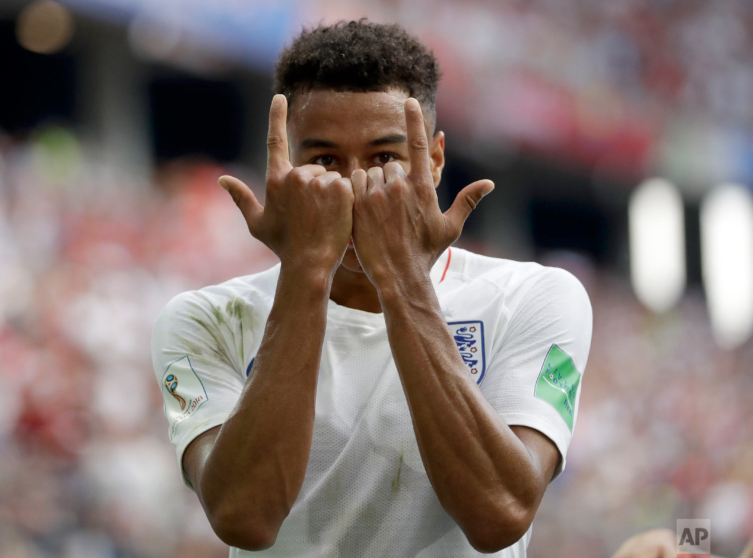 England's Jesse Lingard celebrates as he celebrates after scoring his team's third goal during the group G match between England and Panama at the 2018 soccer World Cup at the Nizhny Novgorod Stadium in Nizhny Novgorod , Russia on June 24, 2018. (AP Photo/Matthias Schrader)