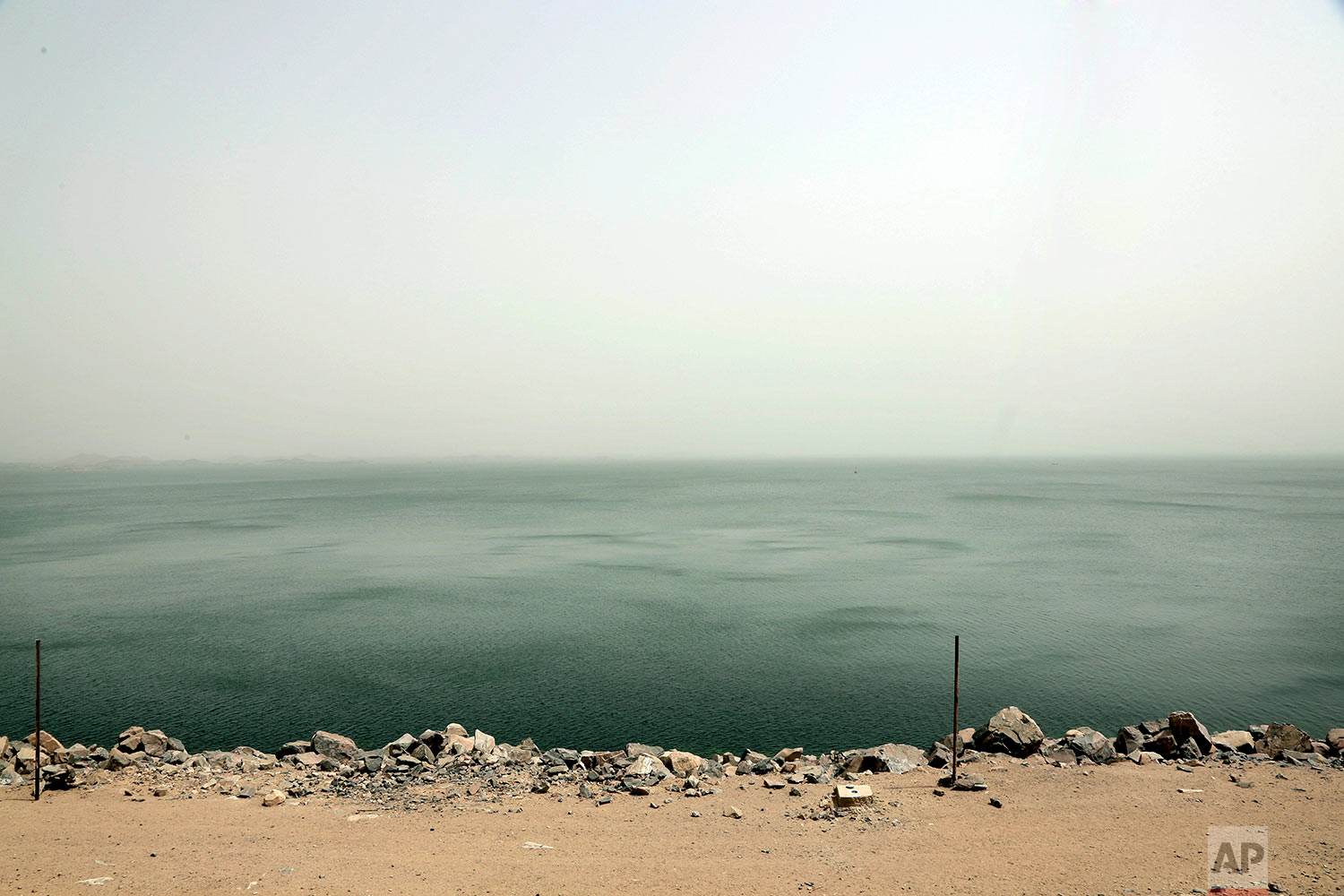 Lake Nasser, the other side of the high dam which flooded the Nubians' ancestral homeland in the1950s and 1960s, in Aswan, Egypt.(AP Photo/Nariman El-Mofty)