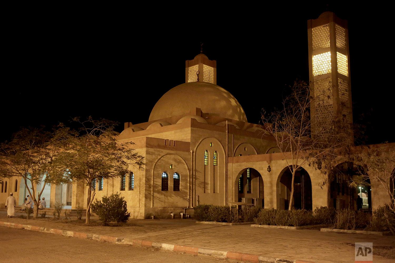 A mosque in Wadi Karkar, a new complex under construction in the desert west of Lake Nasser, Aswan, Egypt. (AP Photo/Nariman El-Mofty)