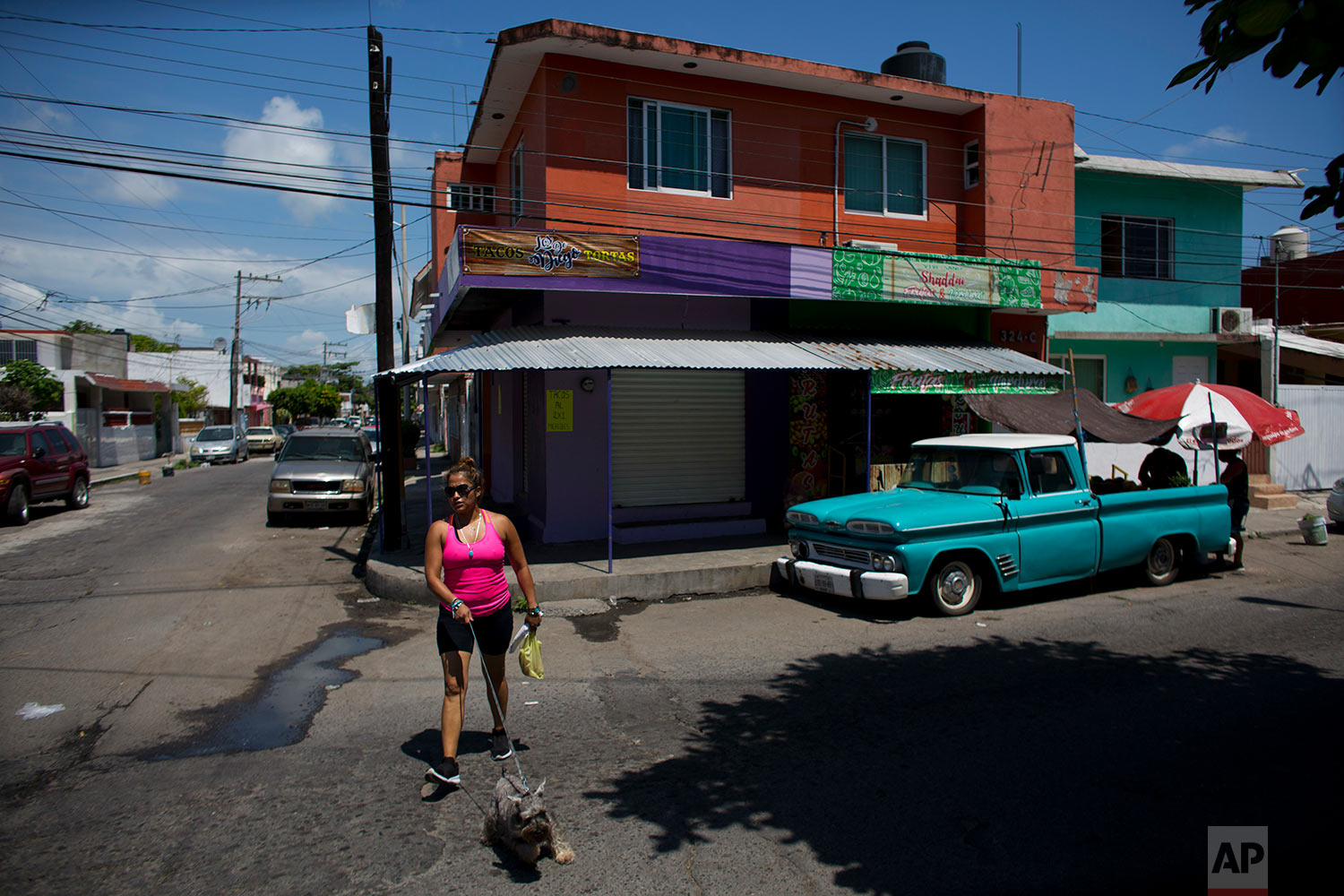 Letty Stegall walks Max, her Mexican relatives' dog, near her parents' home in Boca Del Rio, Veracruz state, Mexico. (AP Photo/Rebecca Blackwell)
