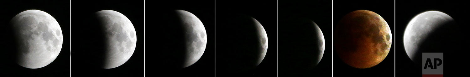 This combination of the seven photos shows the different stages of the moon, from left to right, as a complete lunar eclipse starts from late Friday, July 27, 2018 to early Saturday, July 28, 2018, seen from Kabul, Afghanistan. (AP Photo/Massoud Hossaini)