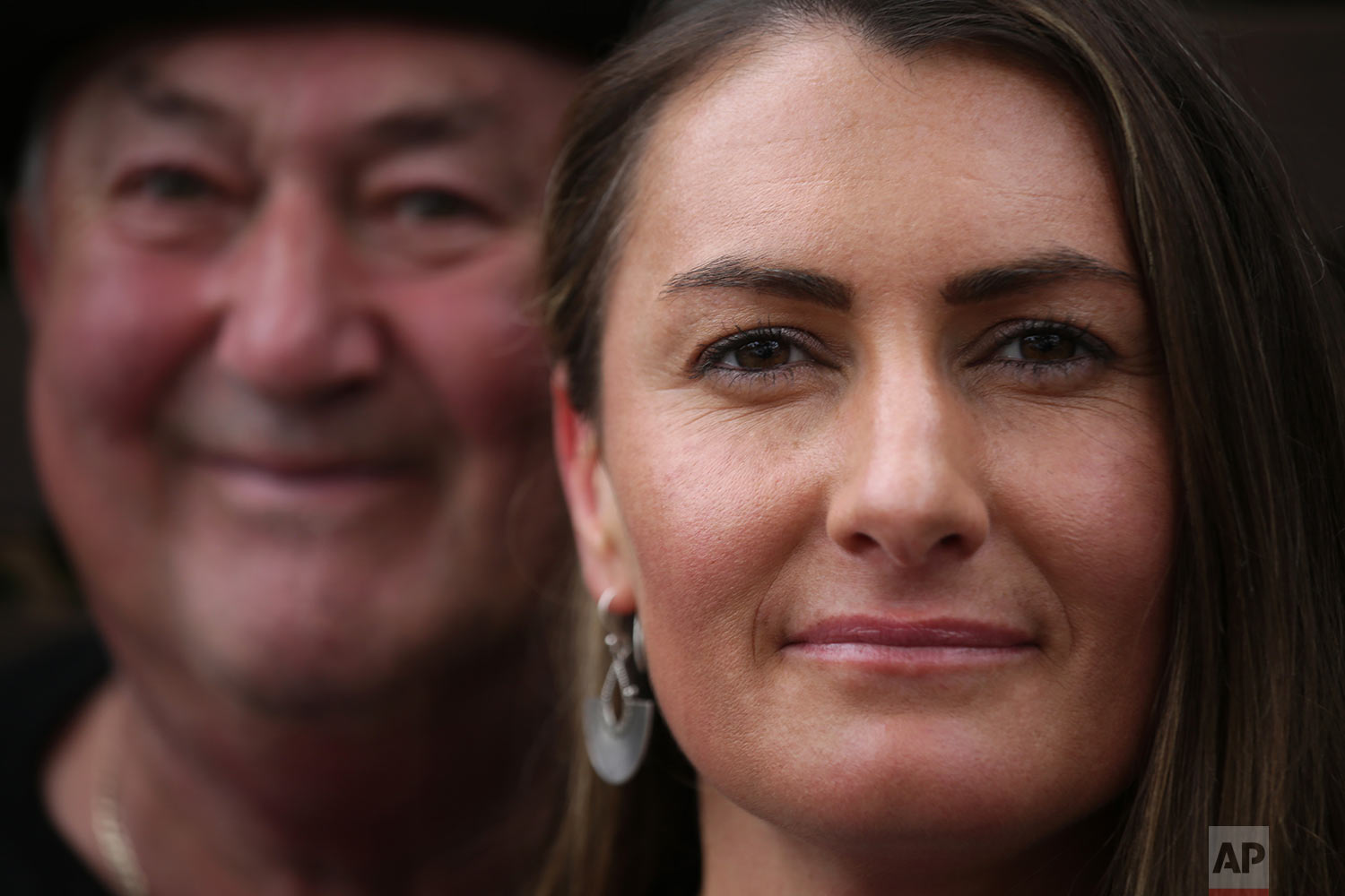 Peter Peacock, 68, left, and Gypsy Diamond, 36, pose for a portrait after an interview with The Associated Press, in Melbourne, Australia. (AP Photo/Wong Maye-E)