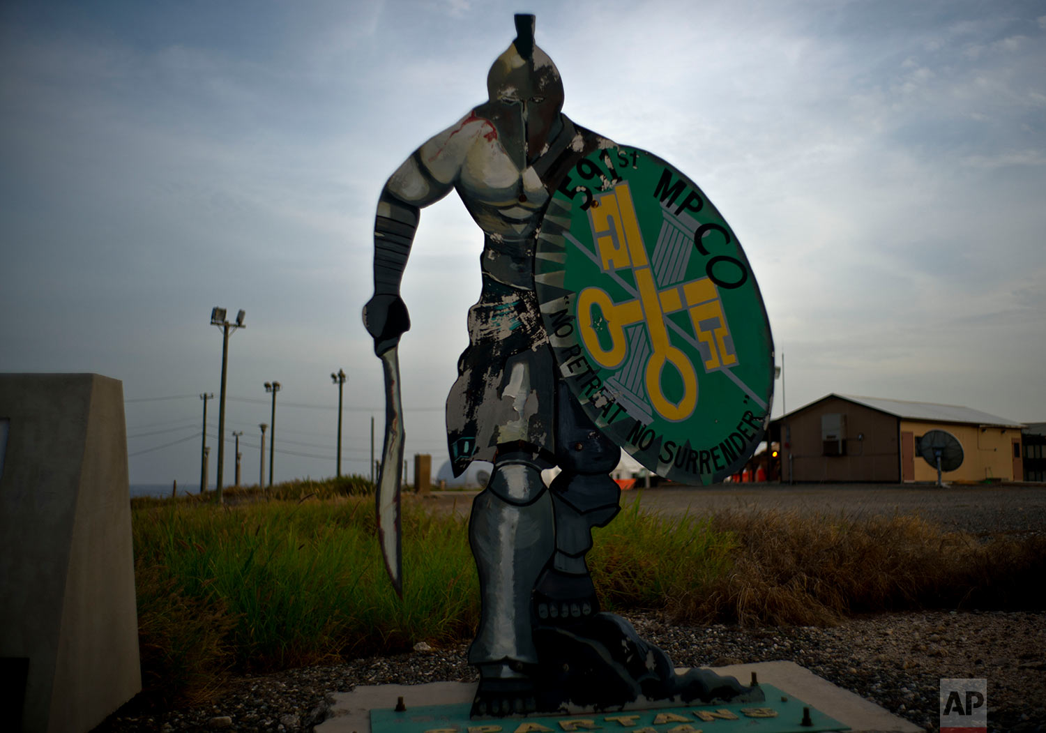 A statue of Iron Spartans stands on the naval base at Guantanamo Bay, June 6, 2018. The icon represents the 591st U.S. Military Police Company, which was deployed at one time to the base.
