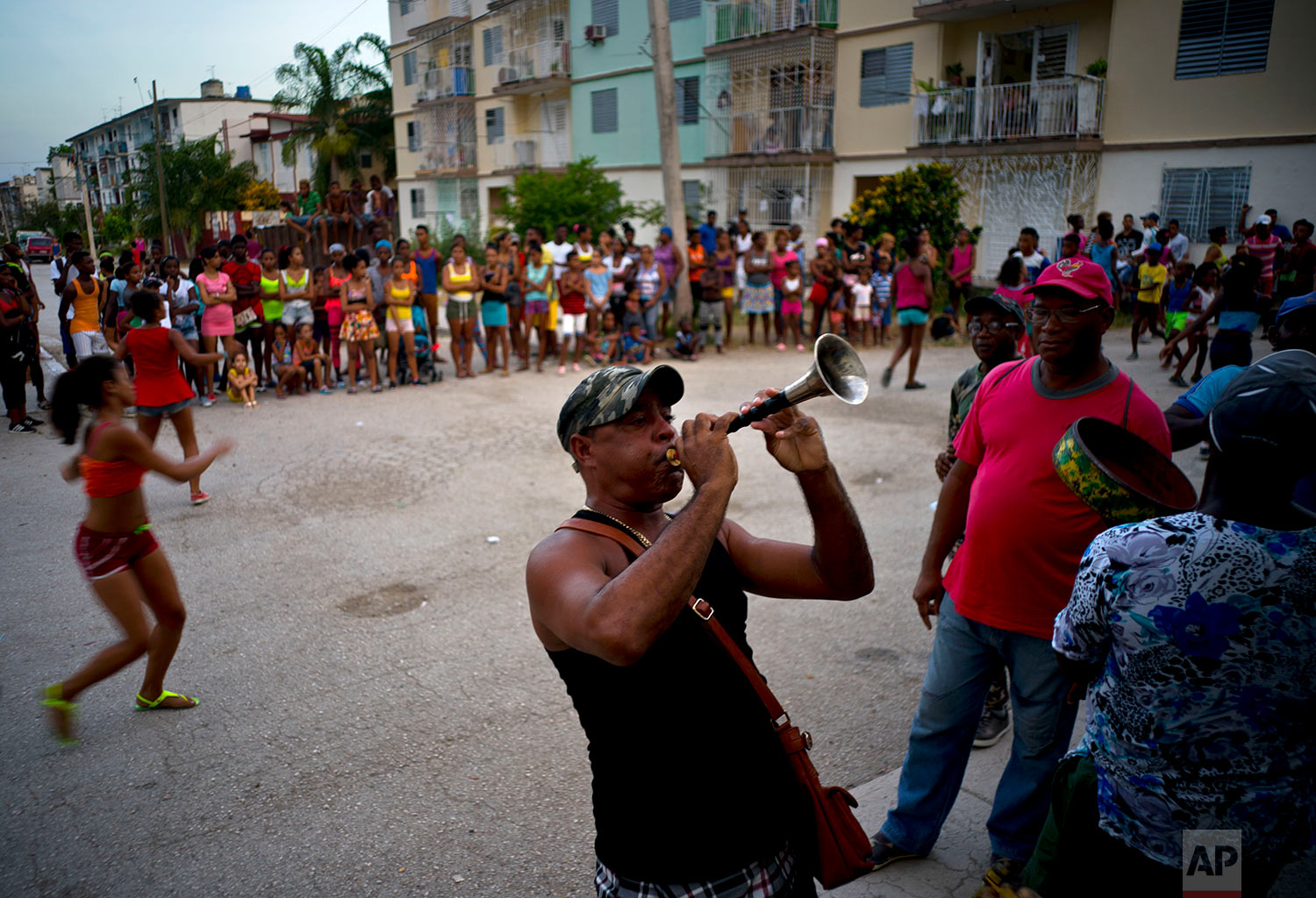 Cubans practice for carnival in Guantanamo, Cuba, July 24, 2018. Guantanamo's carnival, which runs Aug. 9-12, show cases parades of dancers, floats that compete for prizes, food stands and street music.