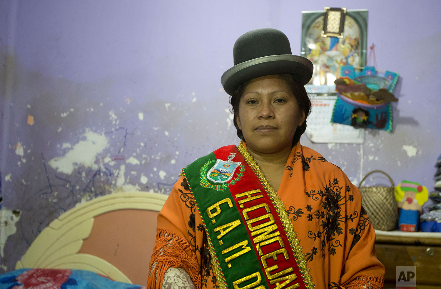 In this June 29, 2018 photo, Callapa Councilwoman Monica Paye, who is under house arrest, poses for a photo, in La Paz, Bolivia.  (AP Photo/Juan Karita)