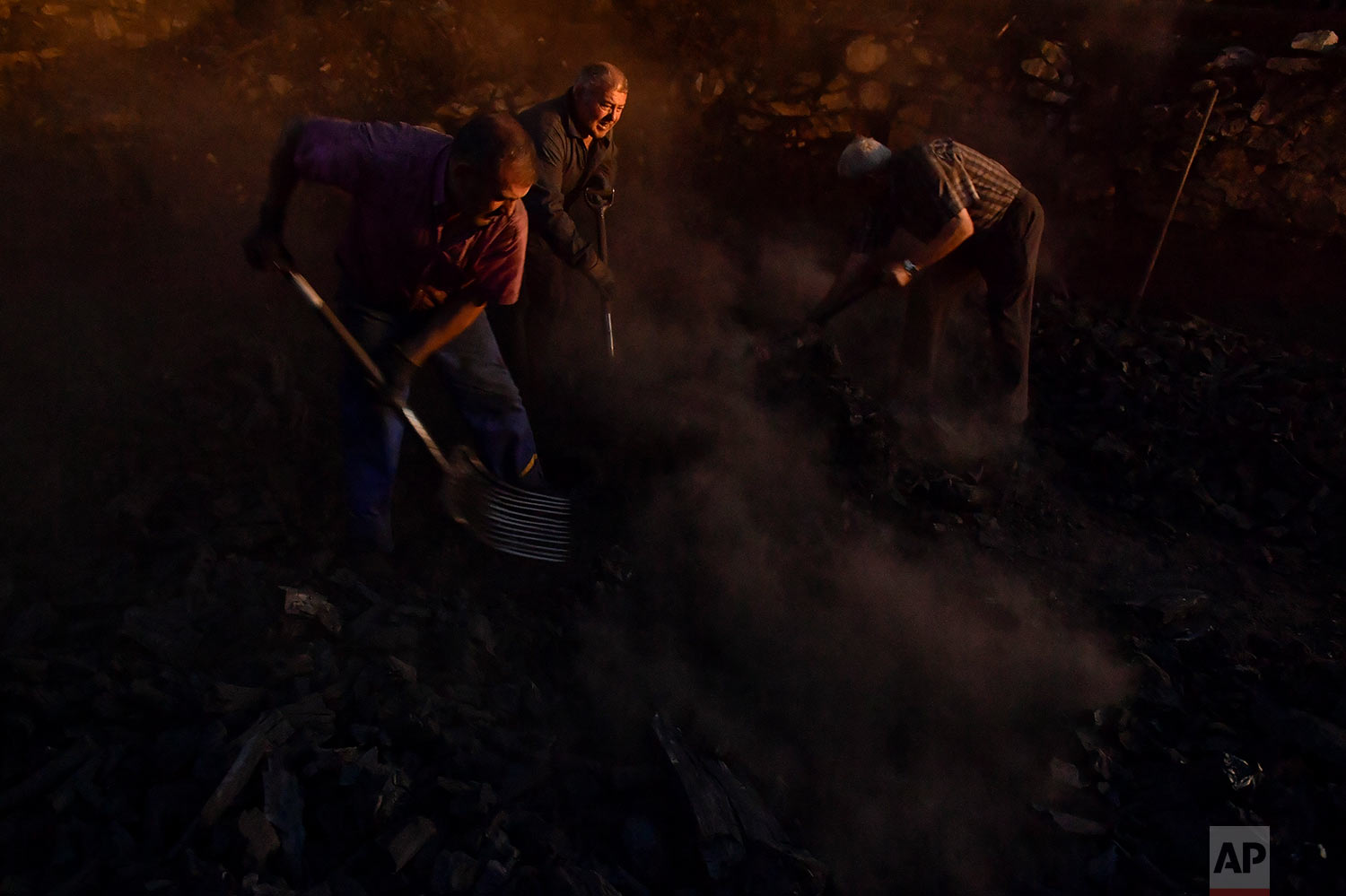 In this Tuesday, Sept.11, 2018 photo, Jesus Luis Remiro, center, picks up charcoal with his brother, Salvador, right, and Jose Mari Nieva, left, as part of a process to produce traditional charcoal in Viloria, northern Spain. (AP Photo/Alvaro Barrientos)