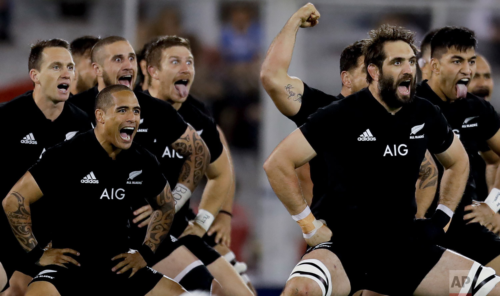 New Zealand's All Blacks players perform the Haka during a rugby Championship match against Argentina's Los Pumas, in Buenos Aires, Argentina, Sept. 29, 2018. (AP Photo/Natacha Pisarenko)