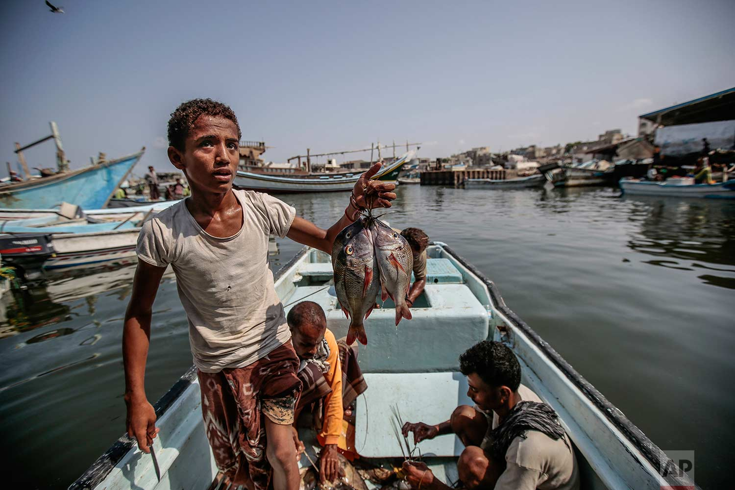 In this Sept. 29, 2018, photo, a boy holds the catch of the day on a boat at the main fishing port, in Hodeida, Yemen. (AP Photo/Hani Mohammed)
