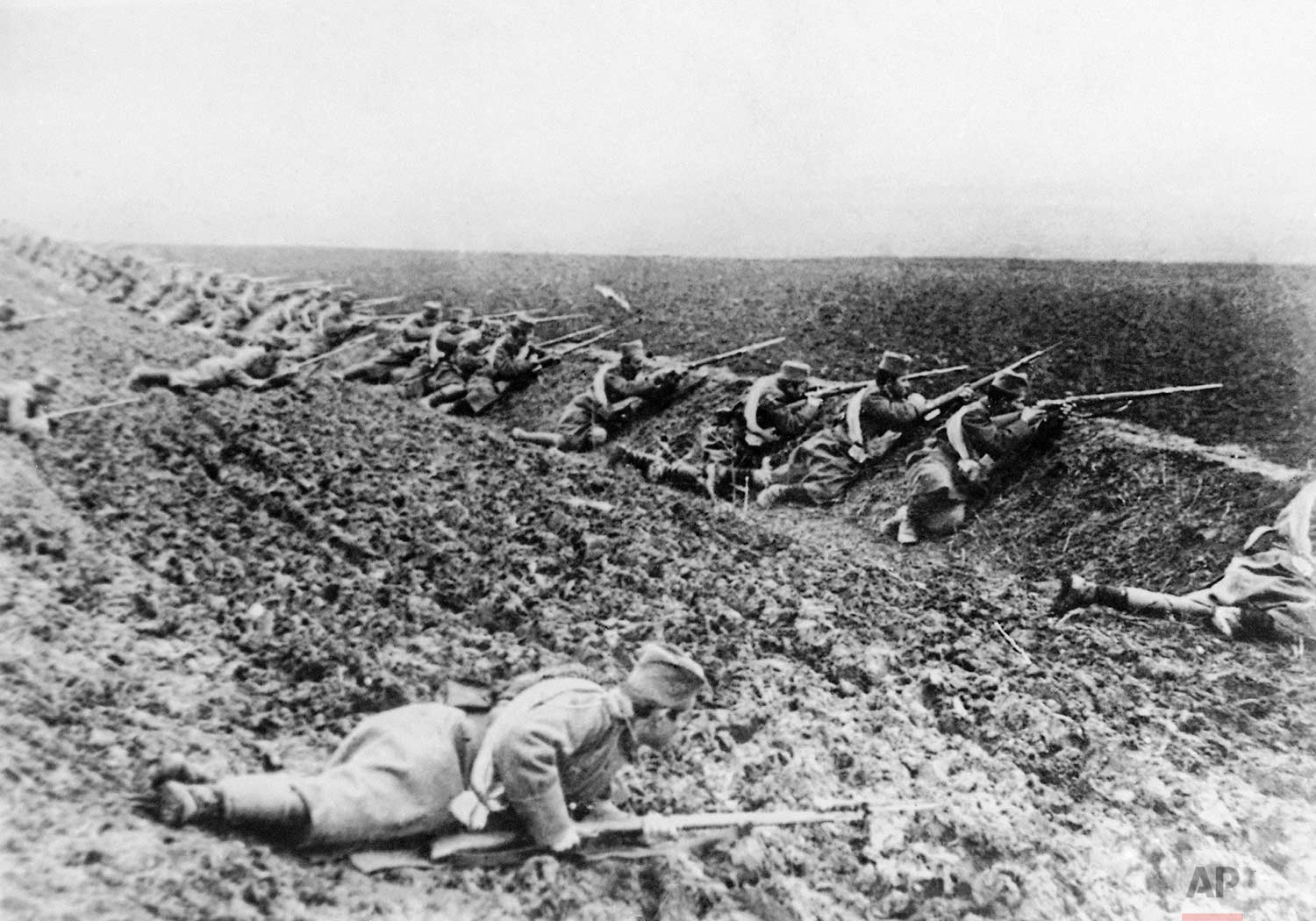 In this undated photo, Serbian soldiers take position on the battle line. Some of the first battles of World War One were fought between Serbia and Austria-Hungary around the Cer Mountain region. (AP Photo)