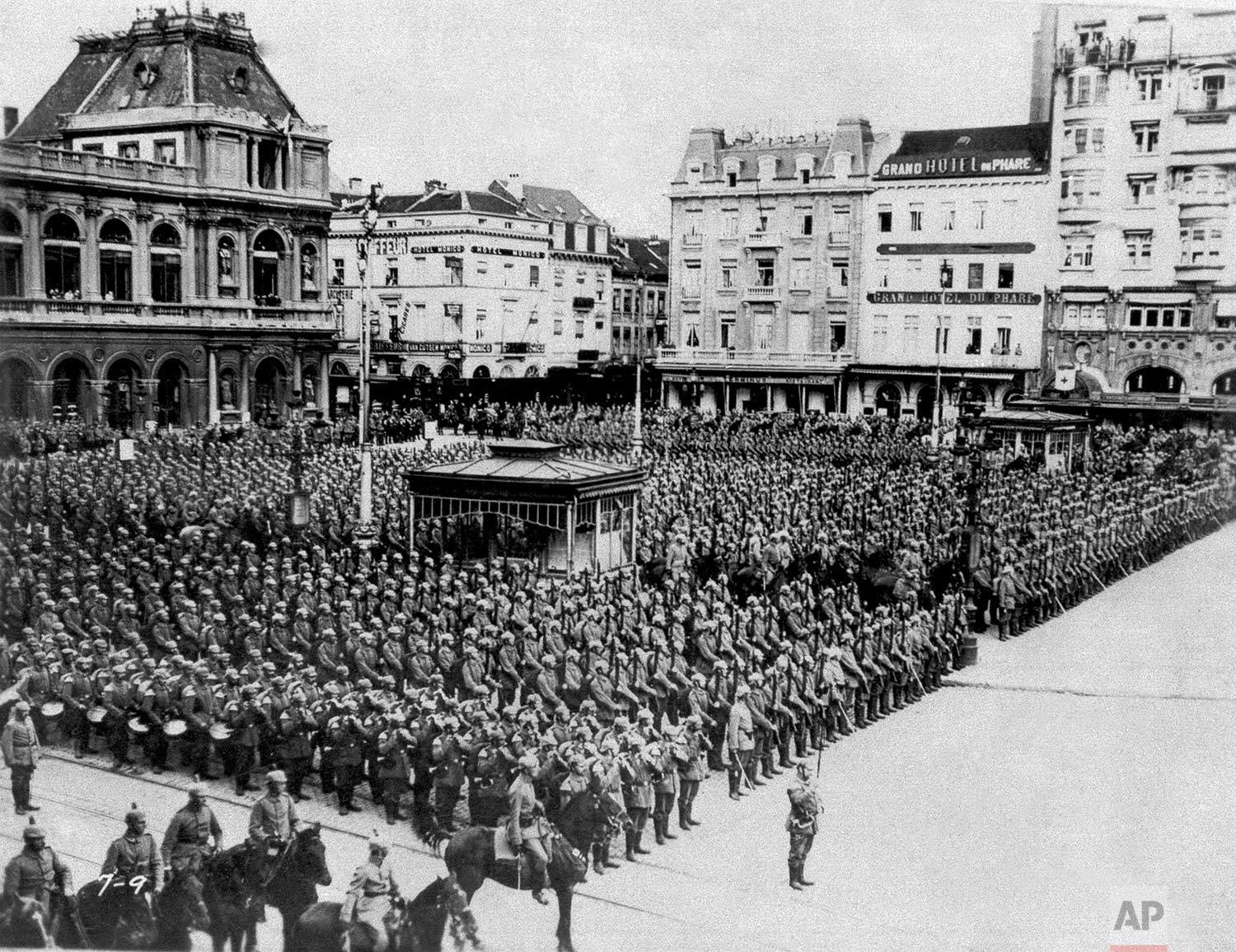 In this August 1914 photo, German troops stand in formation during the occupation of Brussels. (AP Photo)