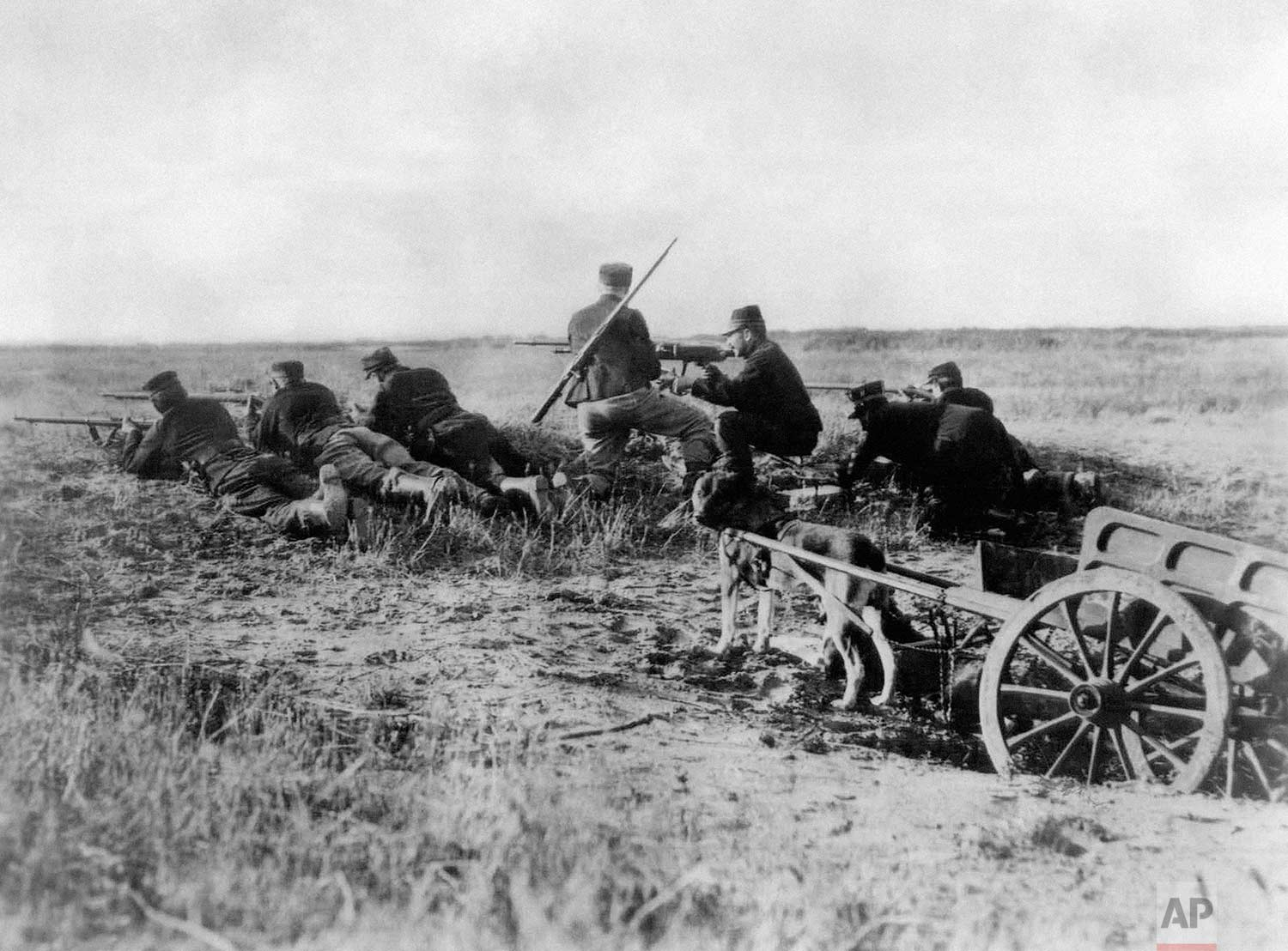 In this Aug. 1914 photo, a Belgian machine gun detachment sets up near Haelen, Belgium. The Belgians often used dogs to draw the ammunitions cart. The Battle of Haelen was also known as the Battle of the Silver Helmets. (AP Photo)