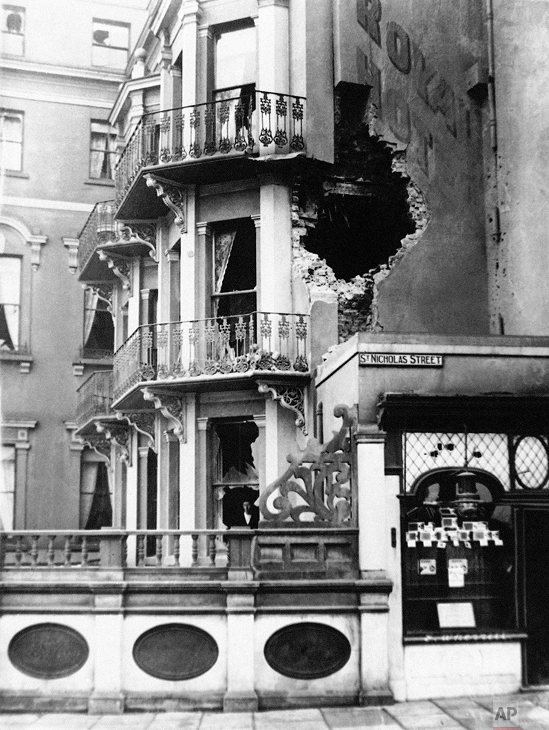 In this Dec. 1914 photo, damage to the Royal Hotel in Scarborough, England after a bombing raid. (AP Photo)