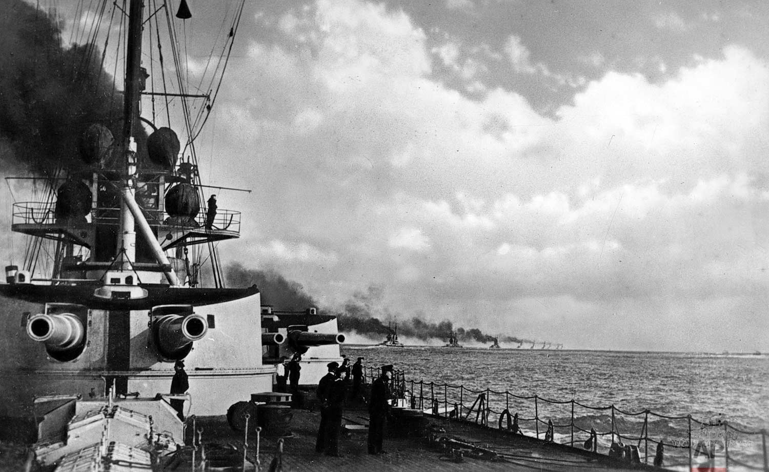 In this May 31, 1916 photo, the German fleet with battle cruisers on the way in the North Sea to meet the British Grand Fleet in the Battle of Jutland during World War One. (AP Photo)